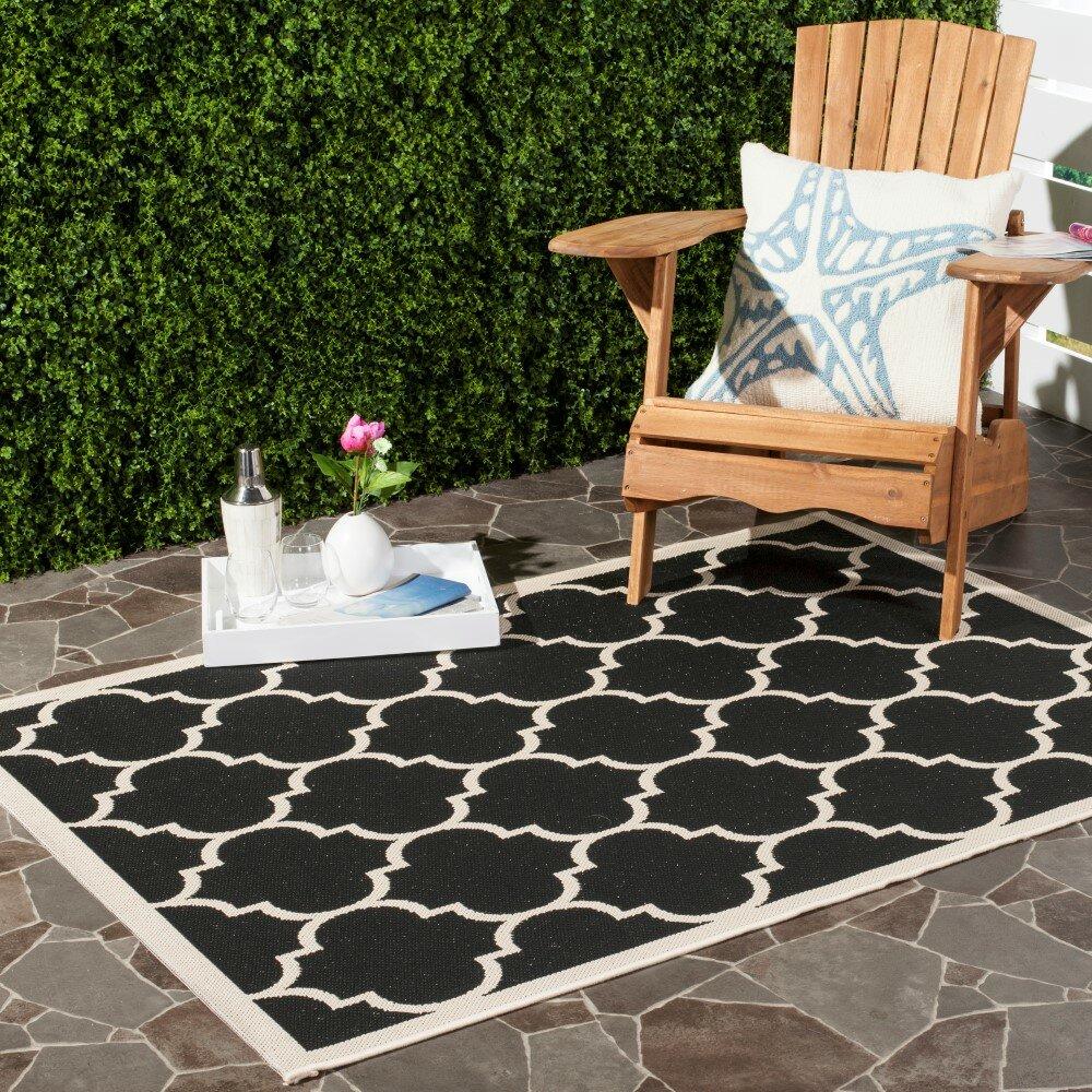 Safavieh Courtyard Black Beige Indoor Outdoor Area Rug