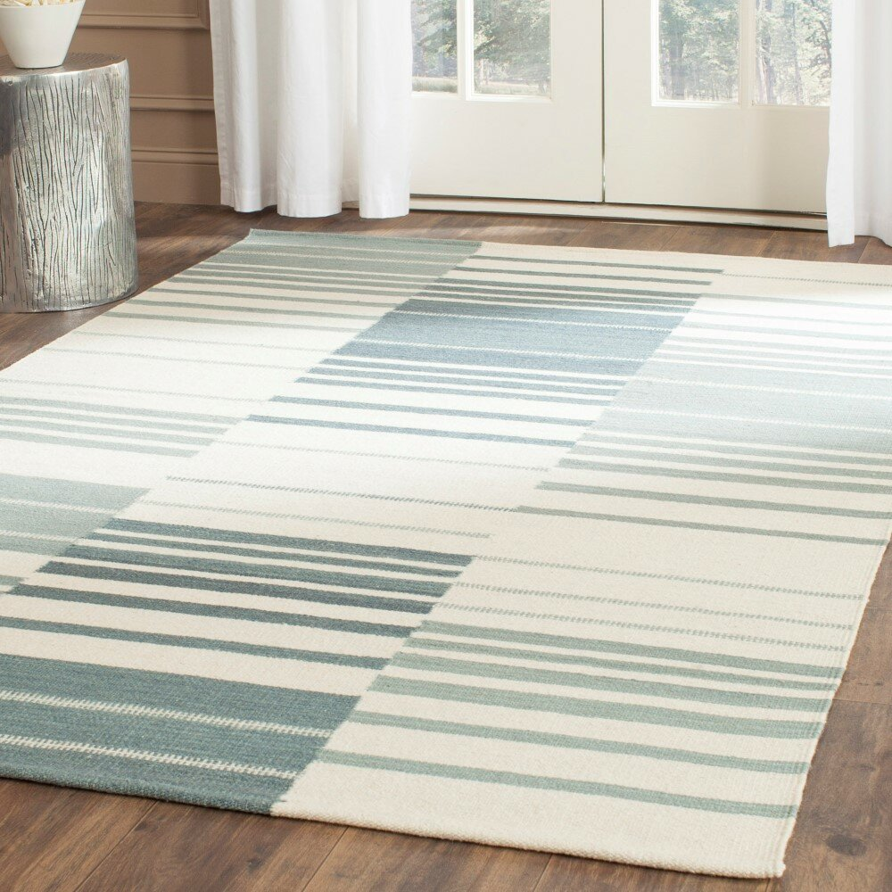 Safavieh Kilim Blue & Ivory Striped Area Rug & Reviews