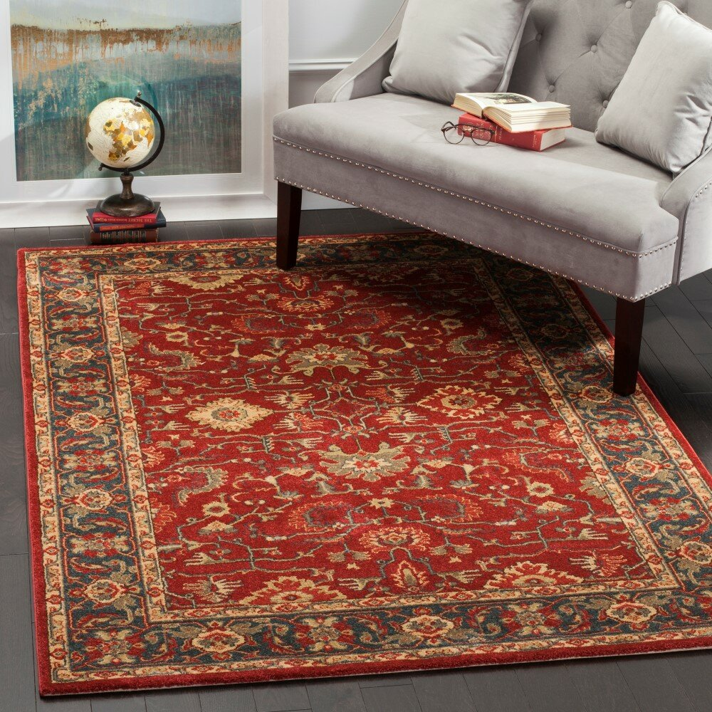 Safavieh mahal red navy area rug reviews wayfair for Red and navy rug
