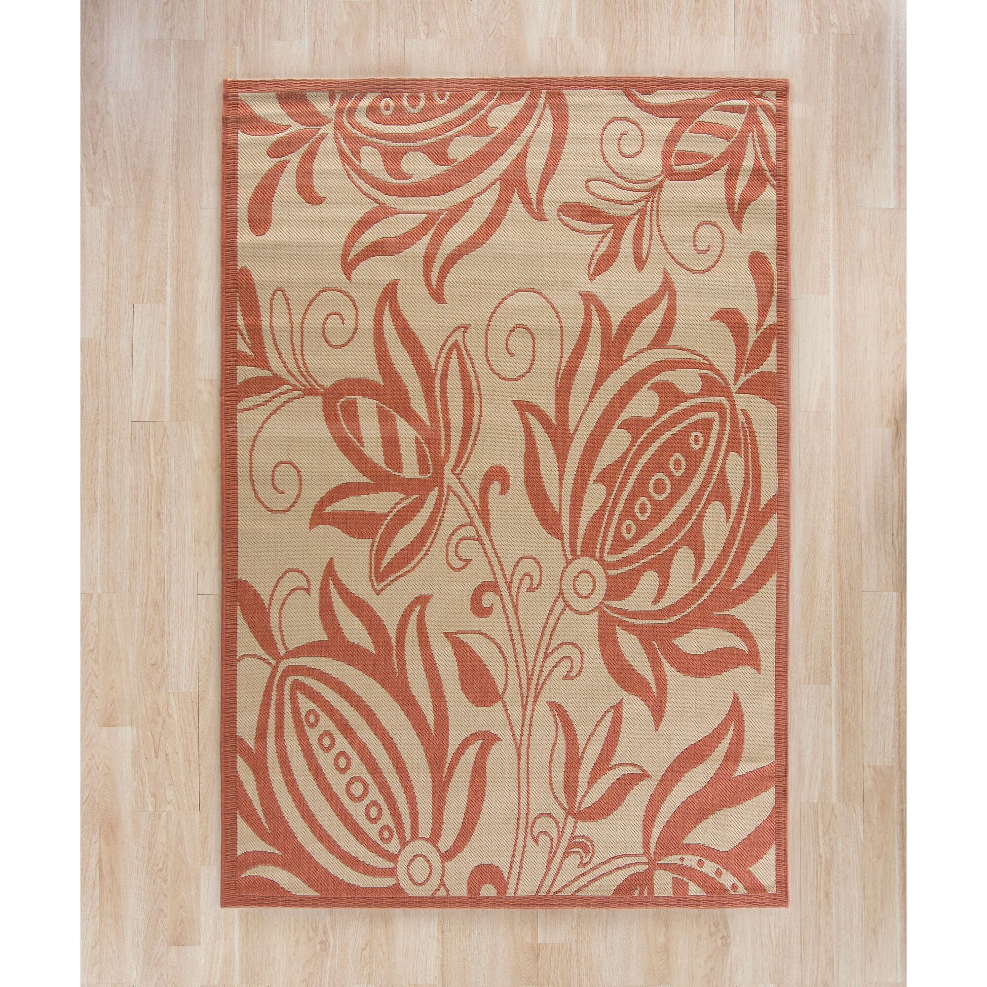 Safavieh Courtyard Natural Red Outdoor Area Rug