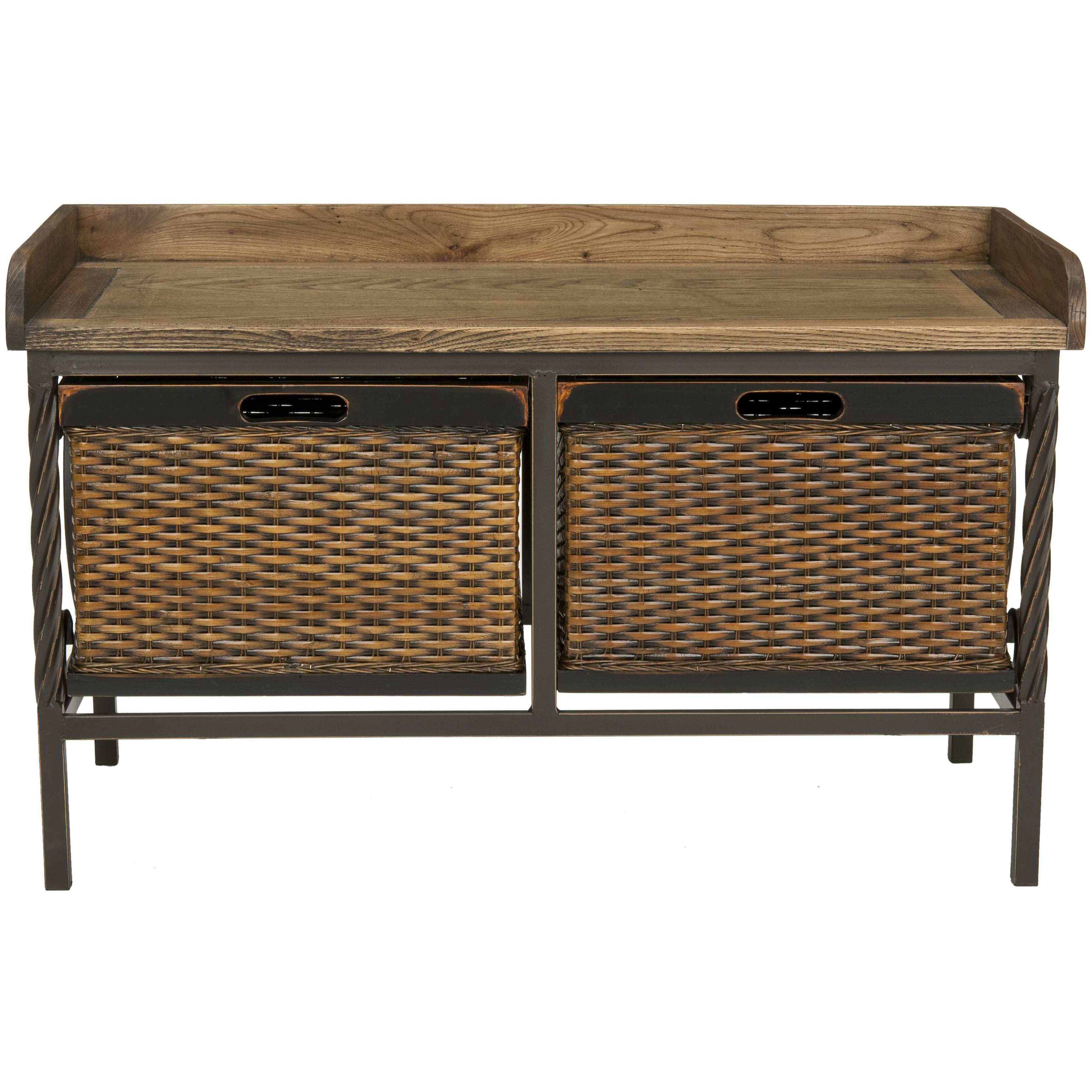Safavieh Bergen Wood And Metal Storage Bench Reviews Wayfair
