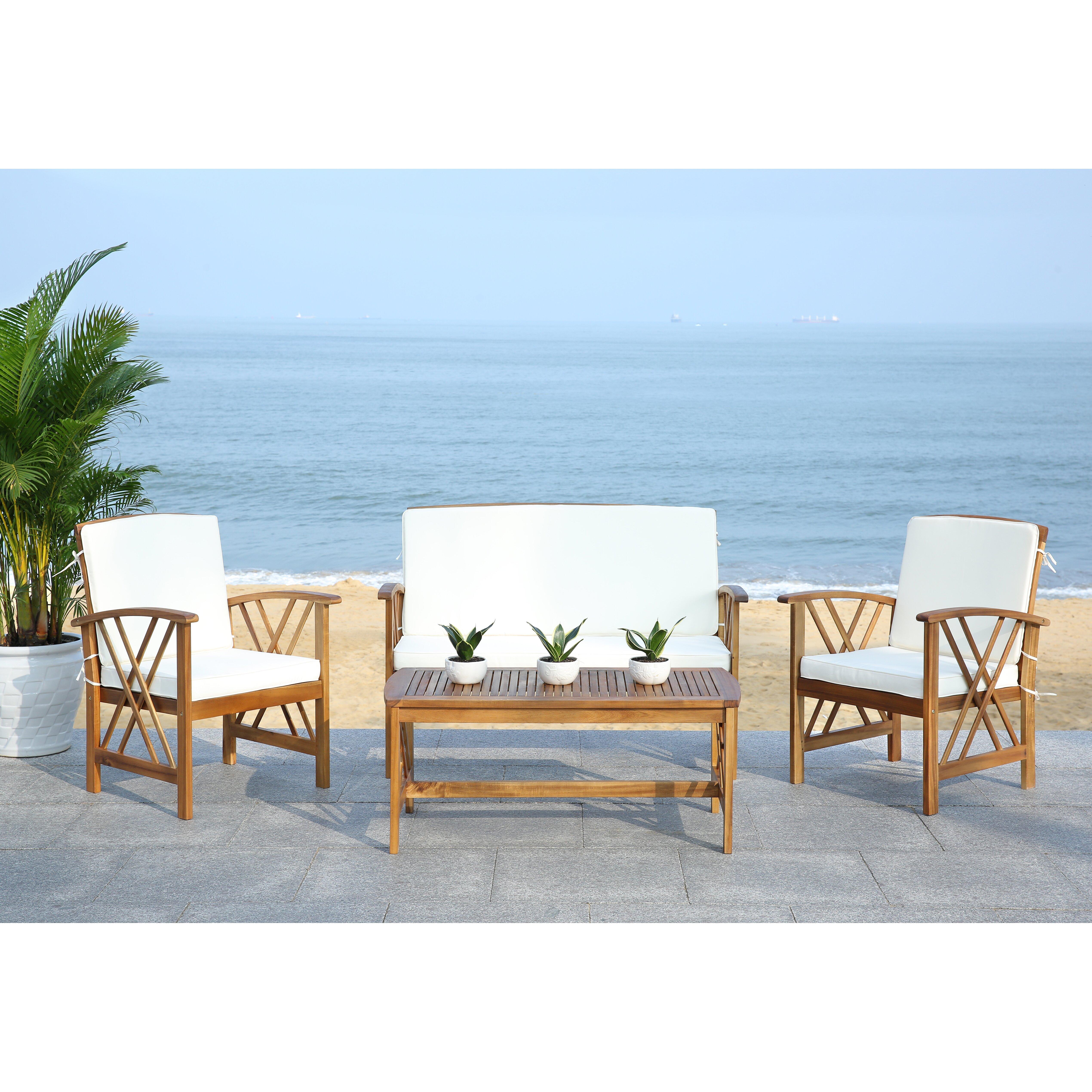 Safavieh Fontana 4 Piece Seating Group with Cushions ... on Safavieh Fontana Patio Set id=77223