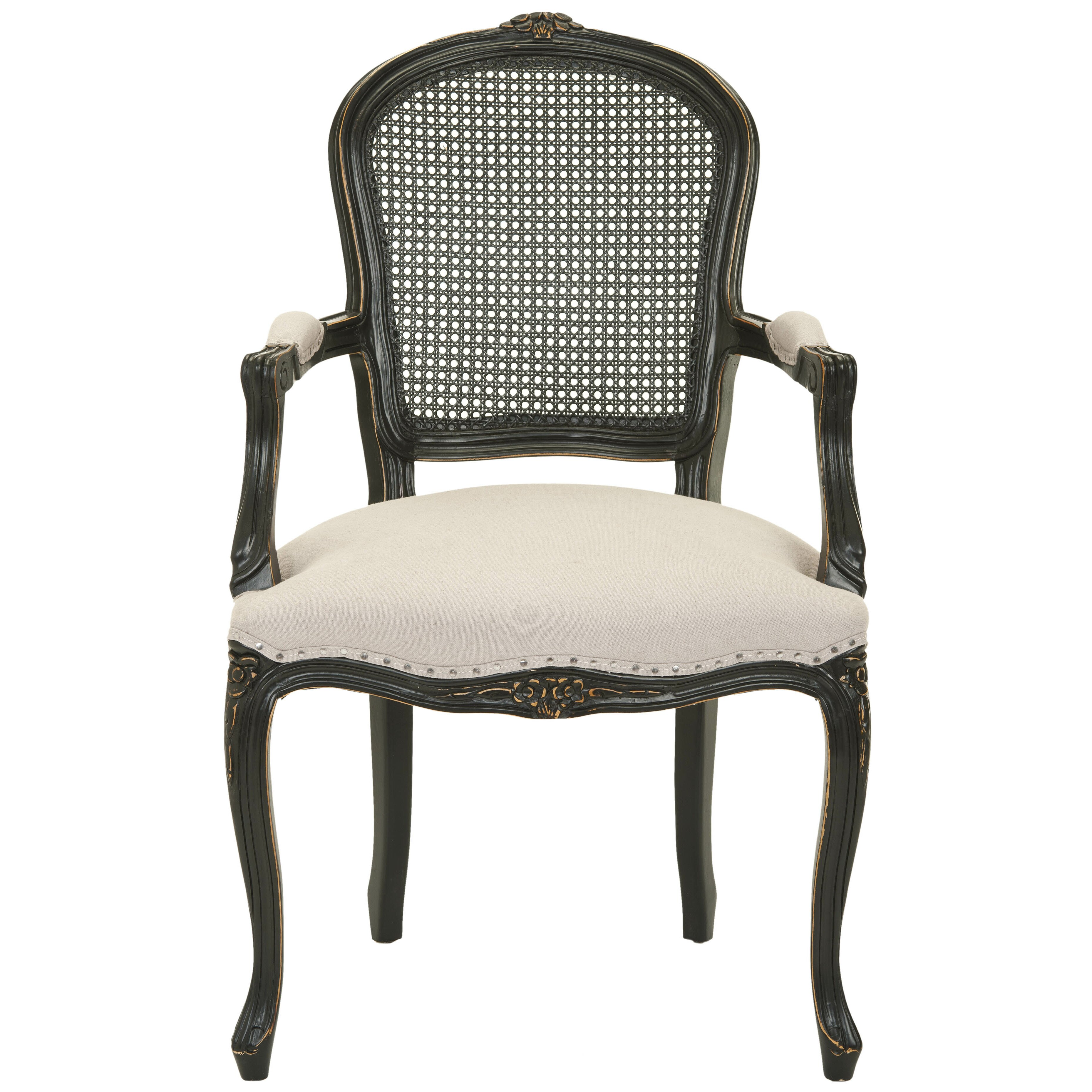 Safavieh Cindy Arm Chair With Nailheads In Black Antique