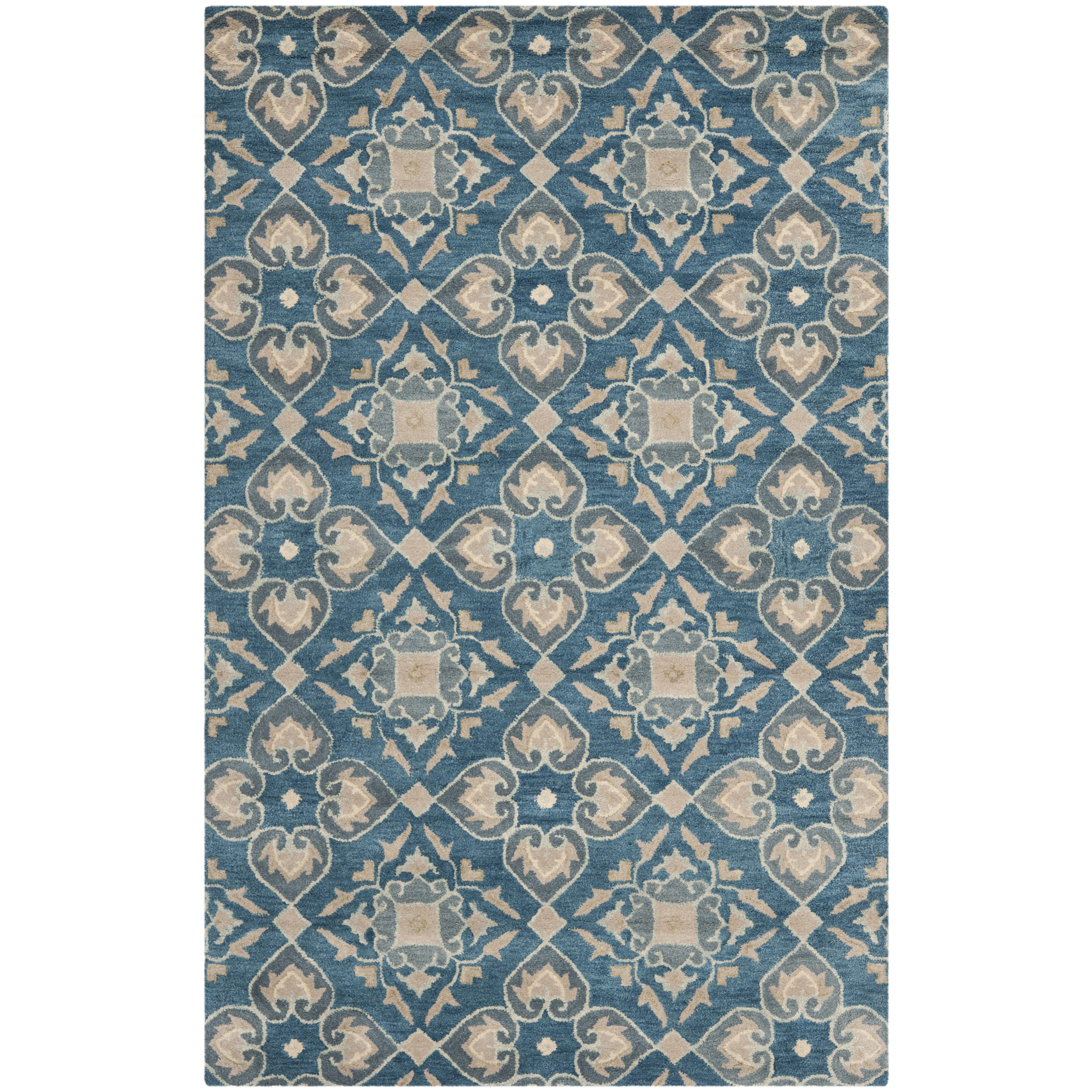 safavieh wyndham blue grey area rug reviews wayfair. Black Bedroom Furniture Sets. Home Design Ideas