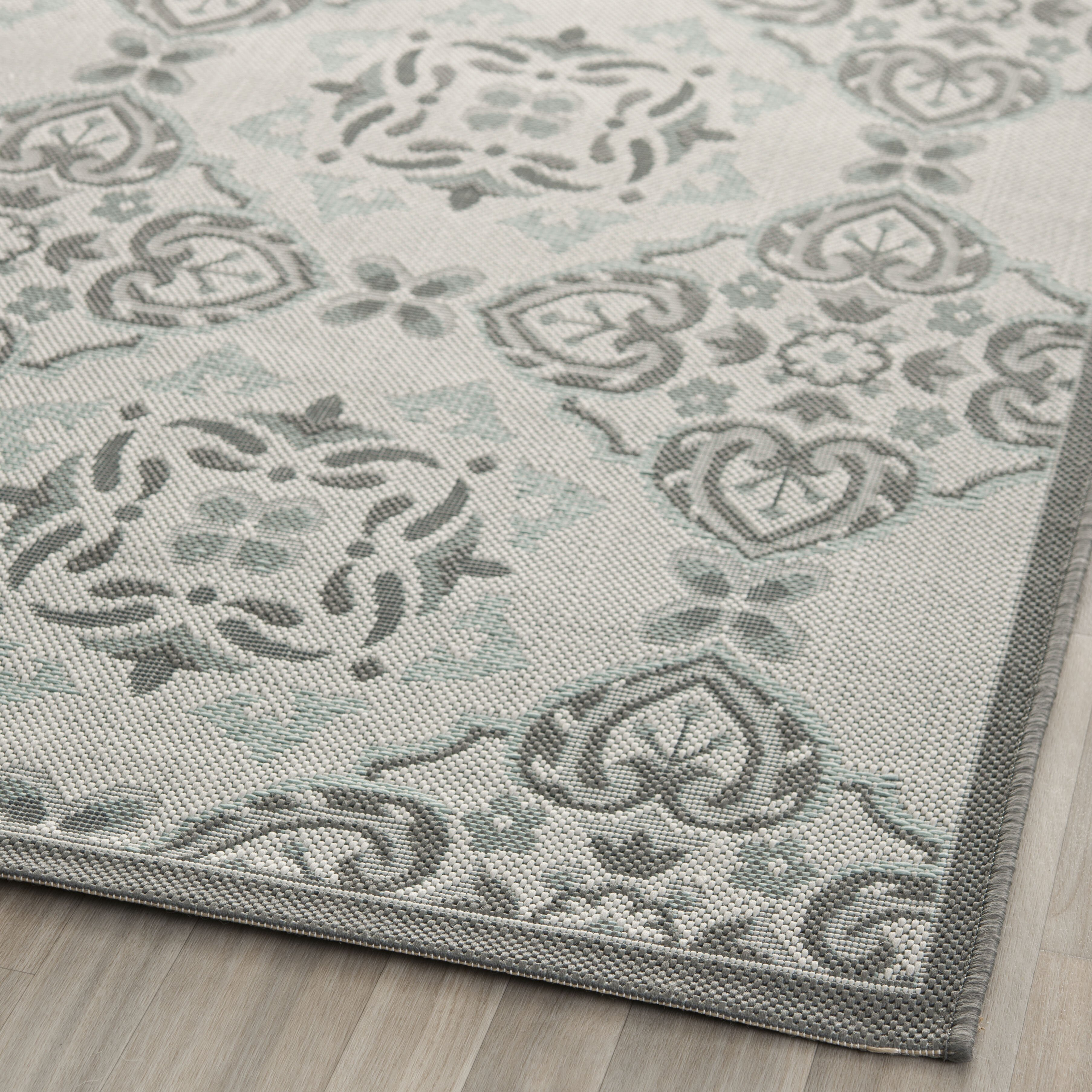 safavieh courtyard light grey anthracite indoor outdoor rug reviews wayfair