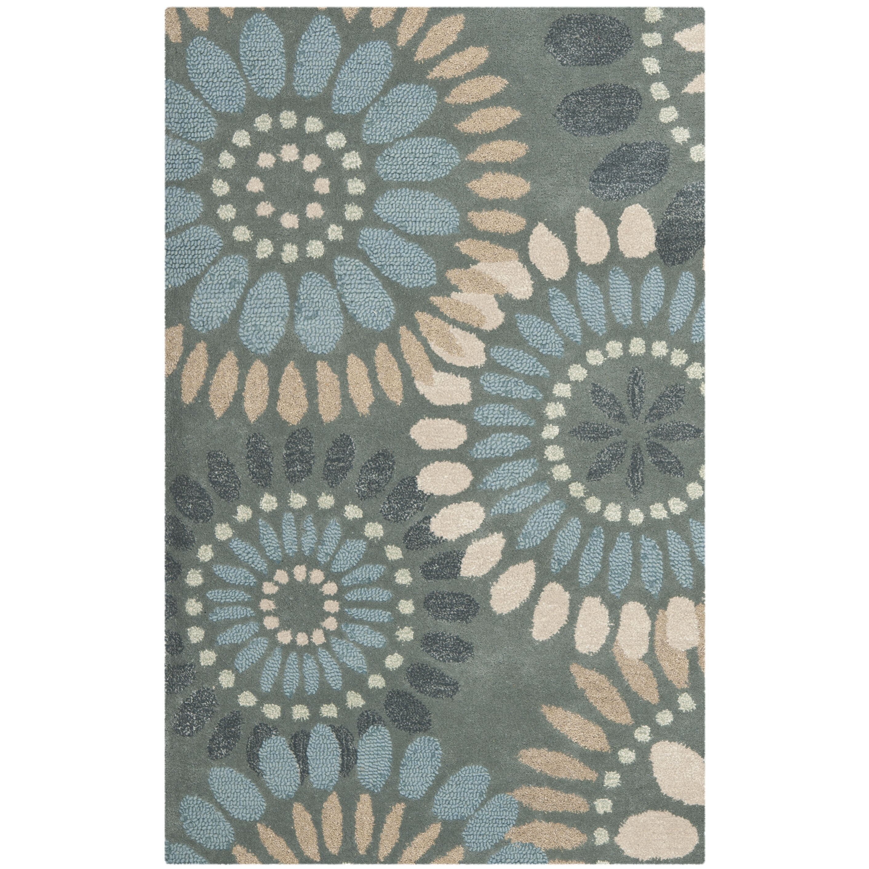 safavieh jardin grey blue floral area rug reviews wayfair. Black Bedroom Furniture Sets. Home Design Ideas