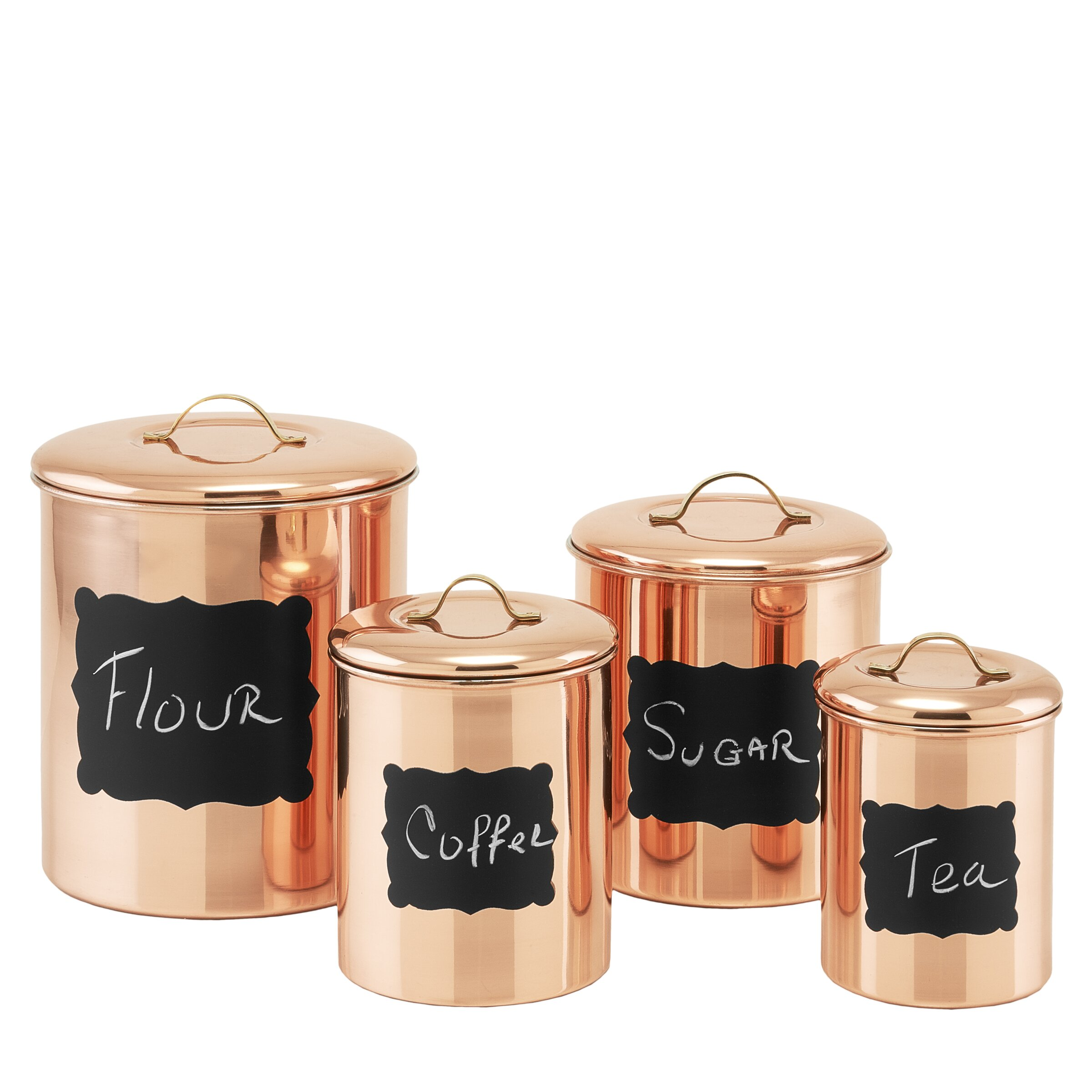 Old dutch 4 piece decor copper chalkboard canister set for Hearth and home designs canister set