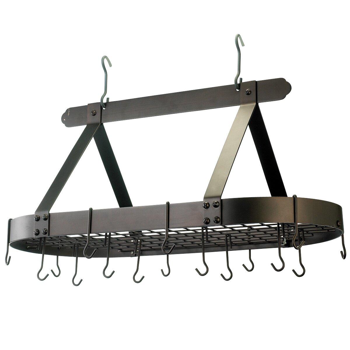 old dutch oval pot rack with 16 hooks reviews wayfair. Black Bedroom Furniture Sets. Home Design Ideas
