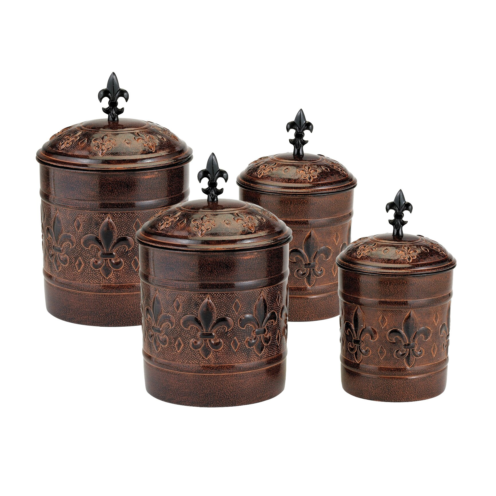 Old dutch versailles 4 piece decorative canister set for Kitchen canisters set 4