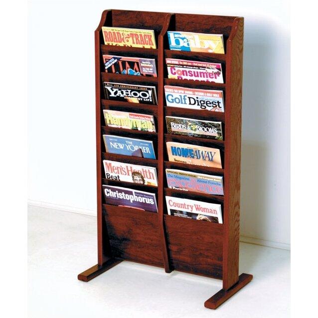 Magazine Shelf: Wooden Mallet 14 Pocket Free Standing Magazine Rack