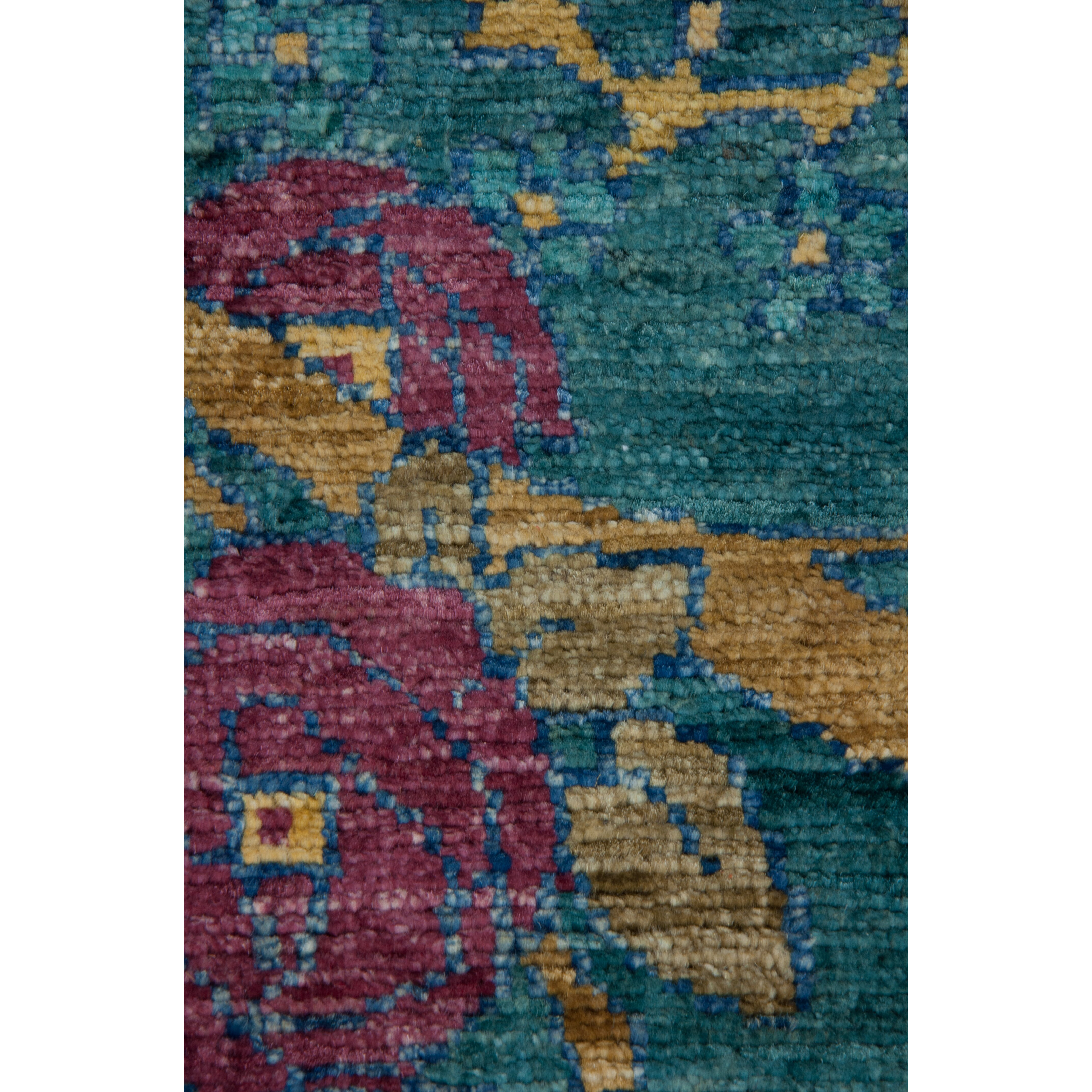 Darya Rugs Arts And Crafts Hand-Knotted Teal Area Rug