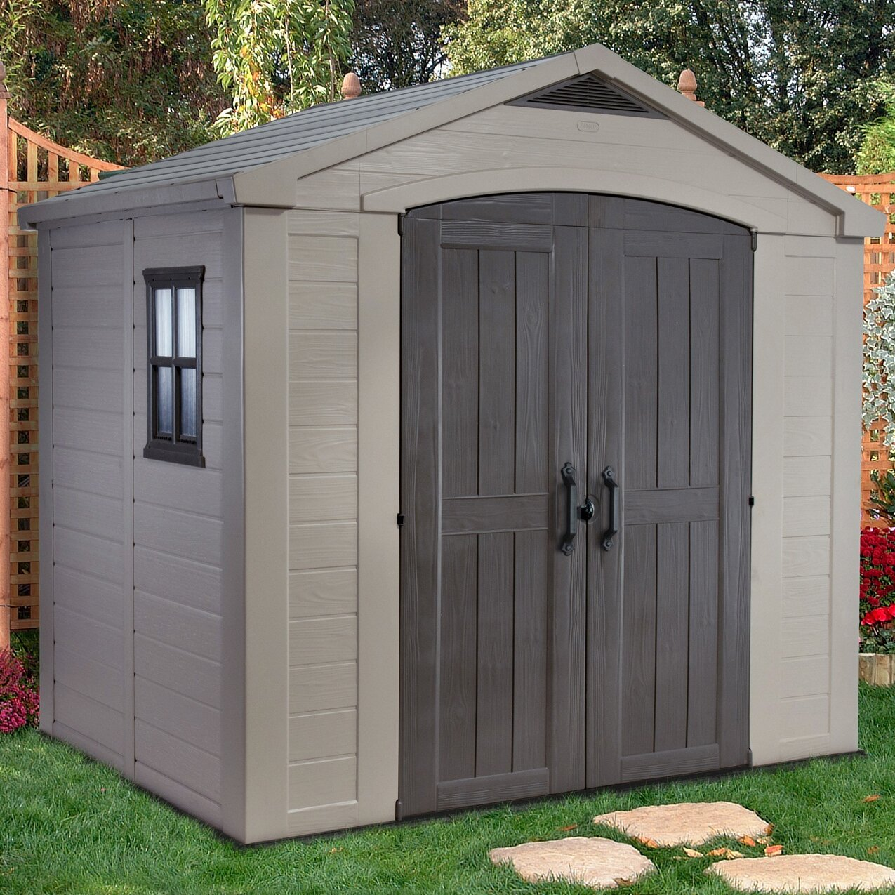Keter factor 8 ft w x 6 ft d resin storage shed for Resin garden shed