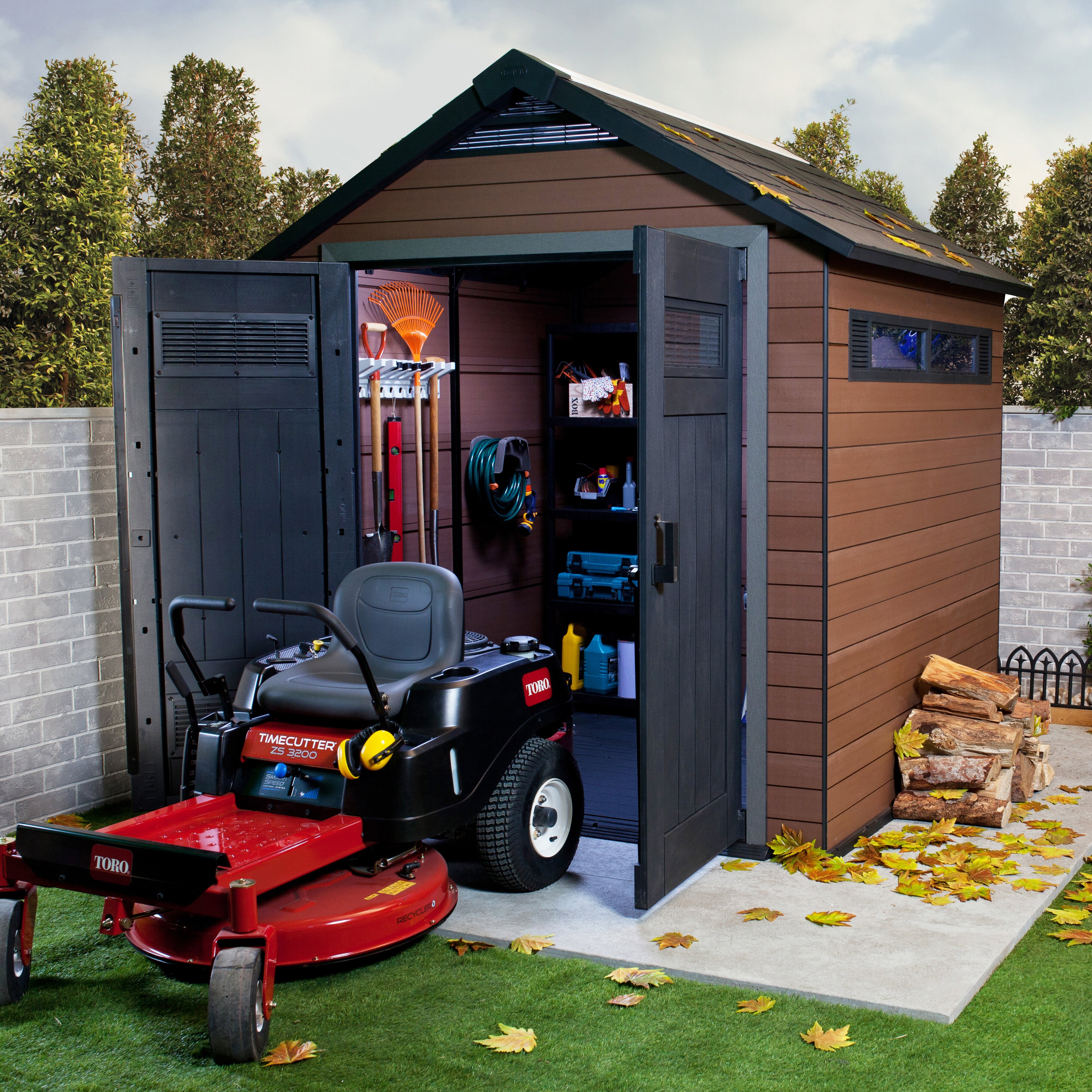 Keter fusion 7 5 ft w x 7 ft d wood plastic composite for Garden shed for lawn mower