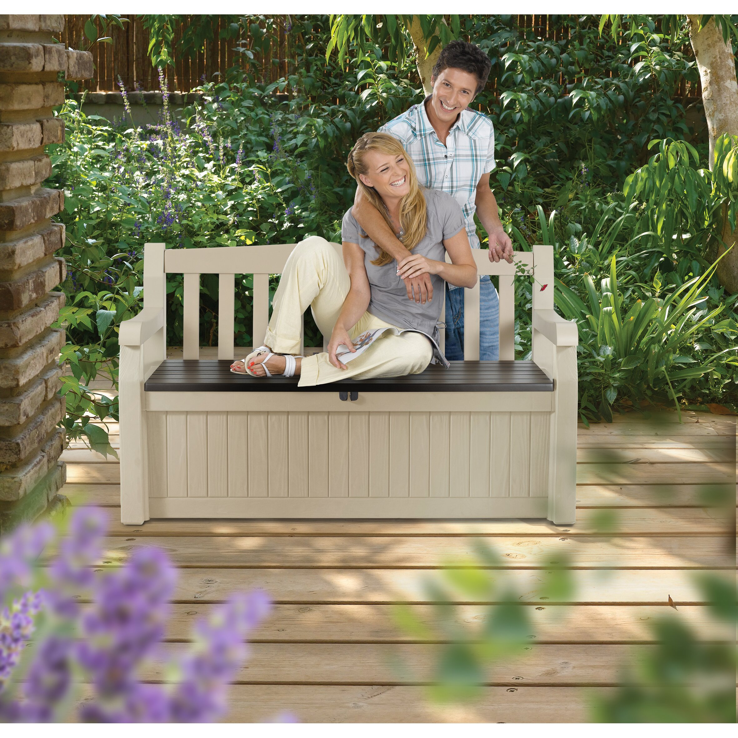 Keter All Weather Outdoor 70 Gallon Resin Storage Bench
