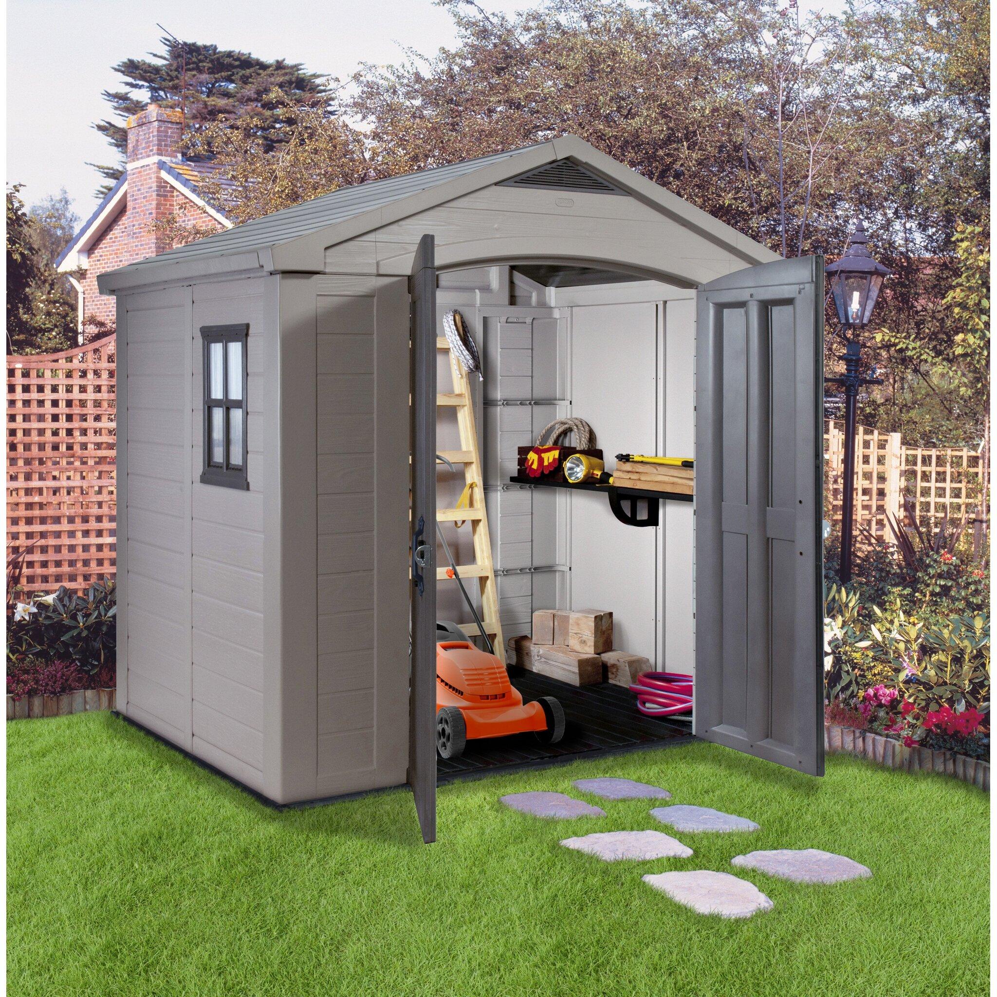 Keter factor 8 ft w x 6 ft d resin storage shed - Caseta jardin resina ...