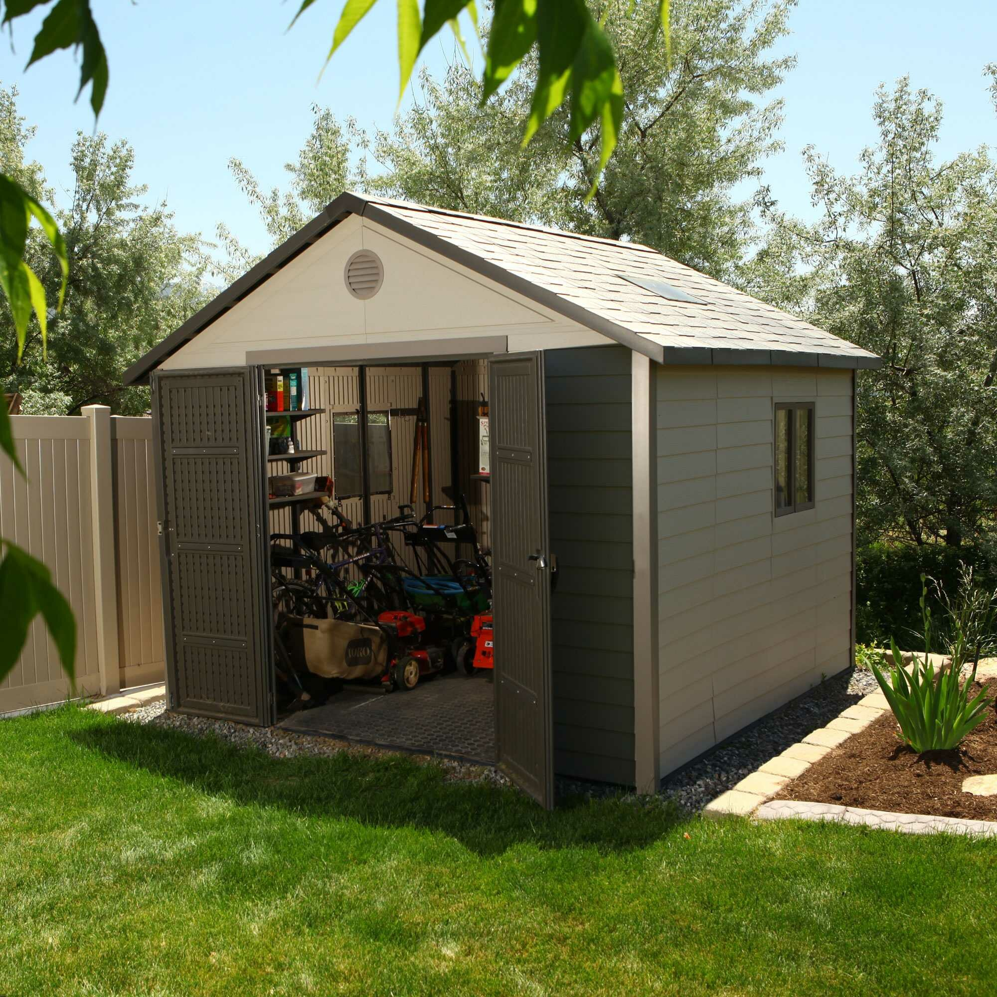 Lifetime 10 ft w x 10 ft d plastic storage shed for Outdoor tool shed