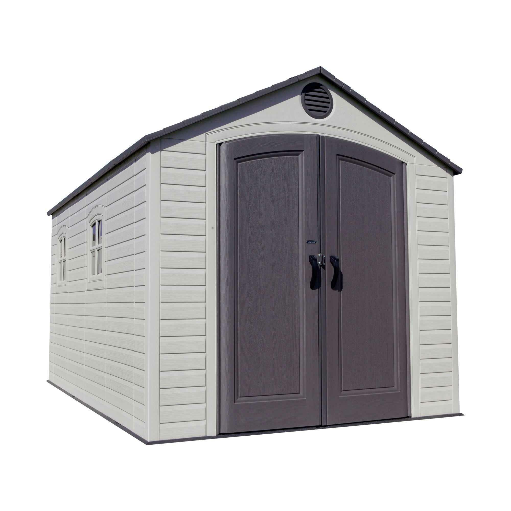 lifetime 8 ft w x 12 ft d plastic storage shed reviews. Black Bedroom Furniture Sets. Home Design Ideas