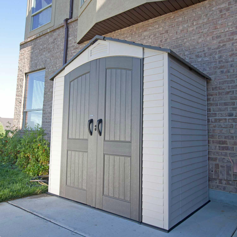lifetime 7 ft w x 4 ft d plastic storage shed reviews. Black Bedroom Furniture Sets. Home Design Ideas