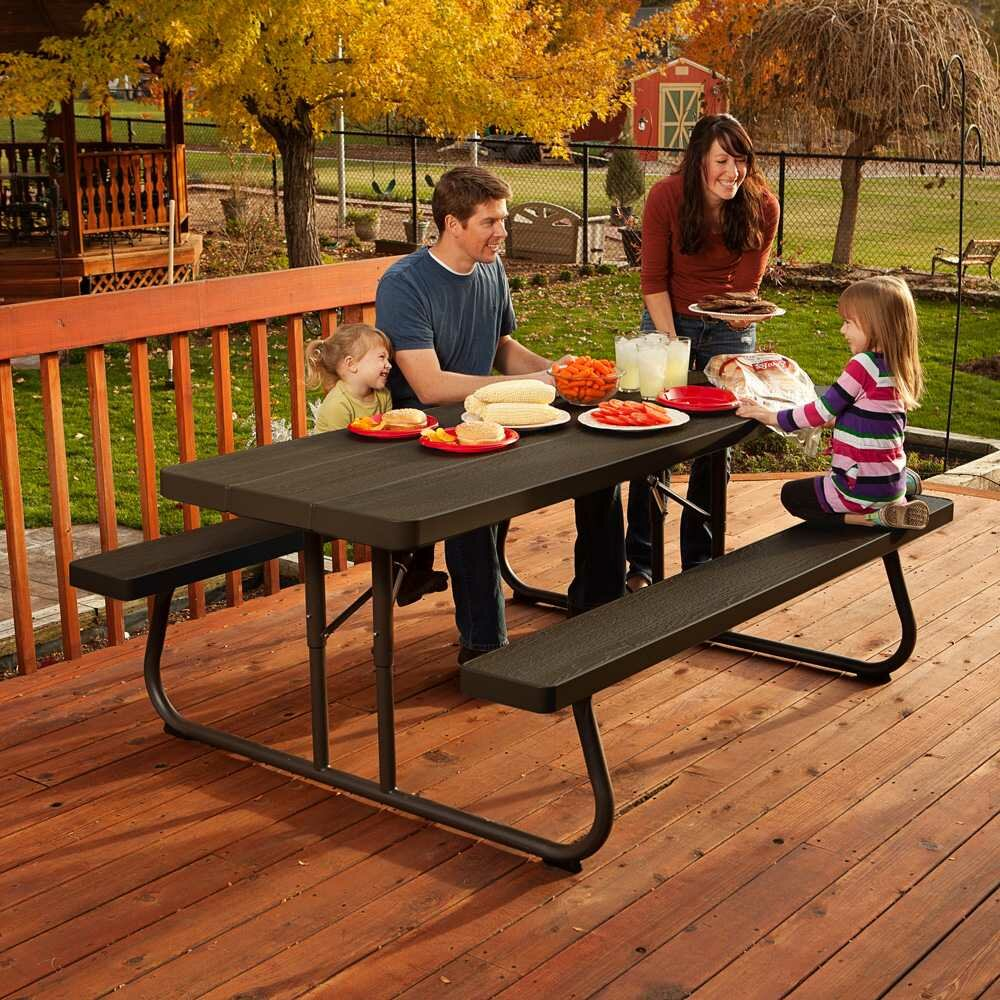 Lifetime Square Folding Table picture on Lifetime 6 Picnic Table 60105 LXT1201 with Lifetime Square Folding Table, Folding Table 61434336175af359217b55c4119f600e