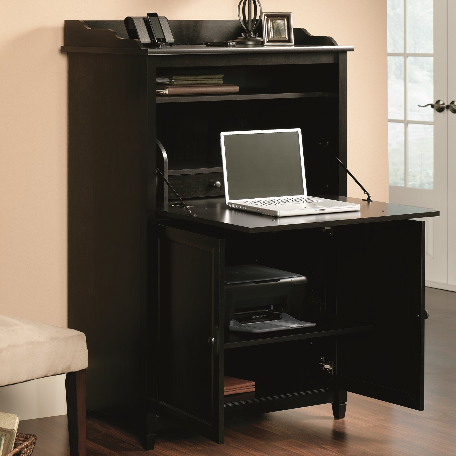 sauder edge water armoire desk reviews wayfair. Black Bedroom Furniture Sets. Home Design Ideas
