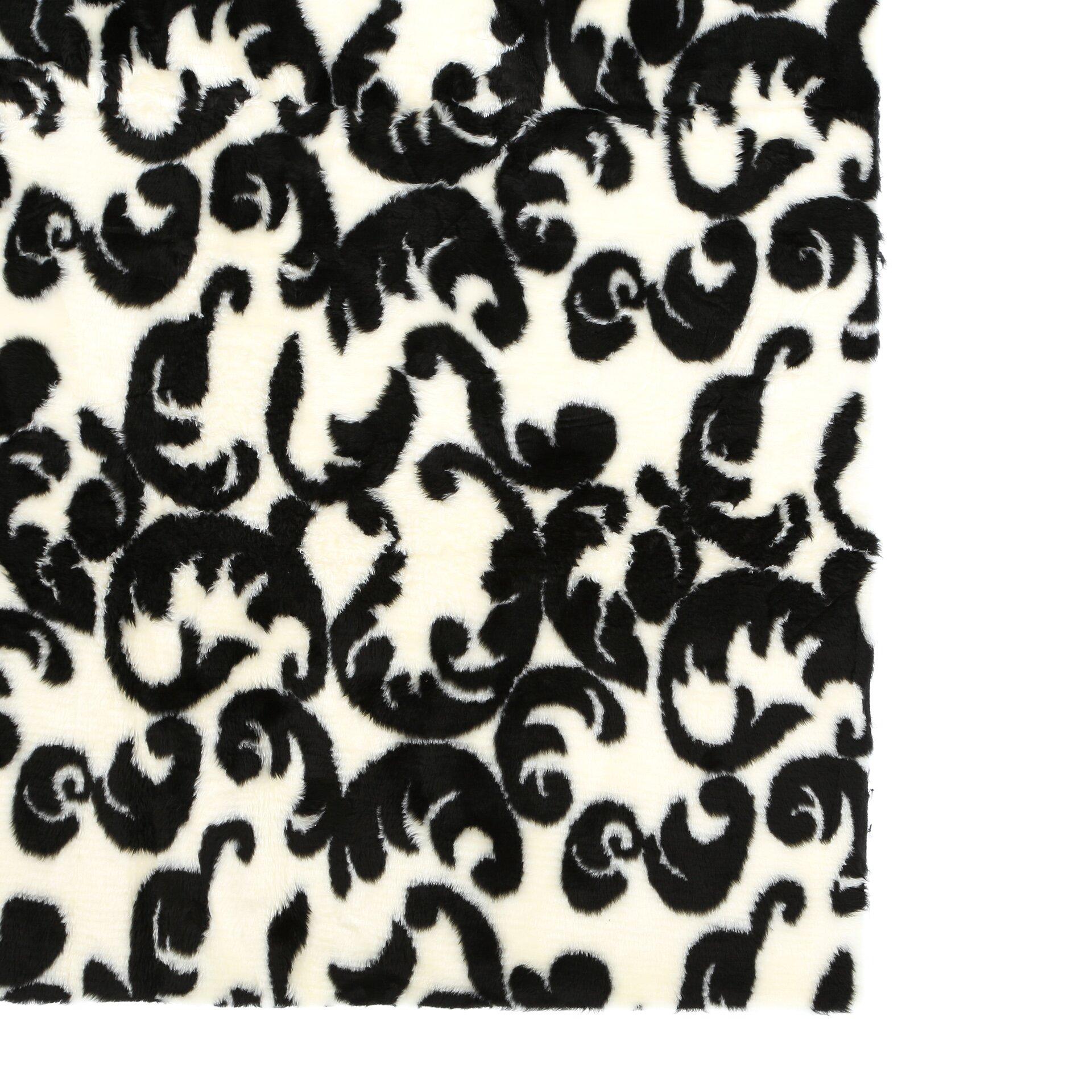 walk on me modern black white area rug reviews wayfair. Black Bedroom Furniture Sets. Home Design Ideas