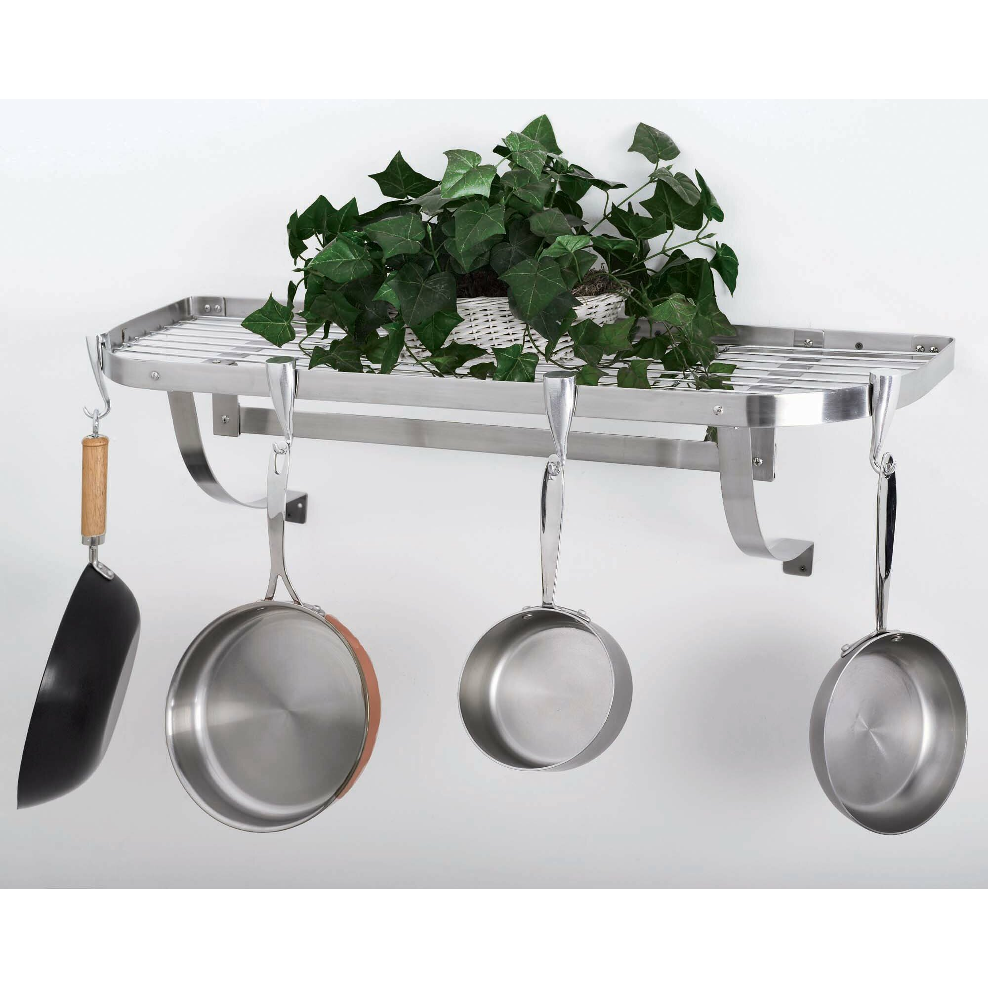 Concept Housewares Stainless Steel Wall Mounted Pot Rack