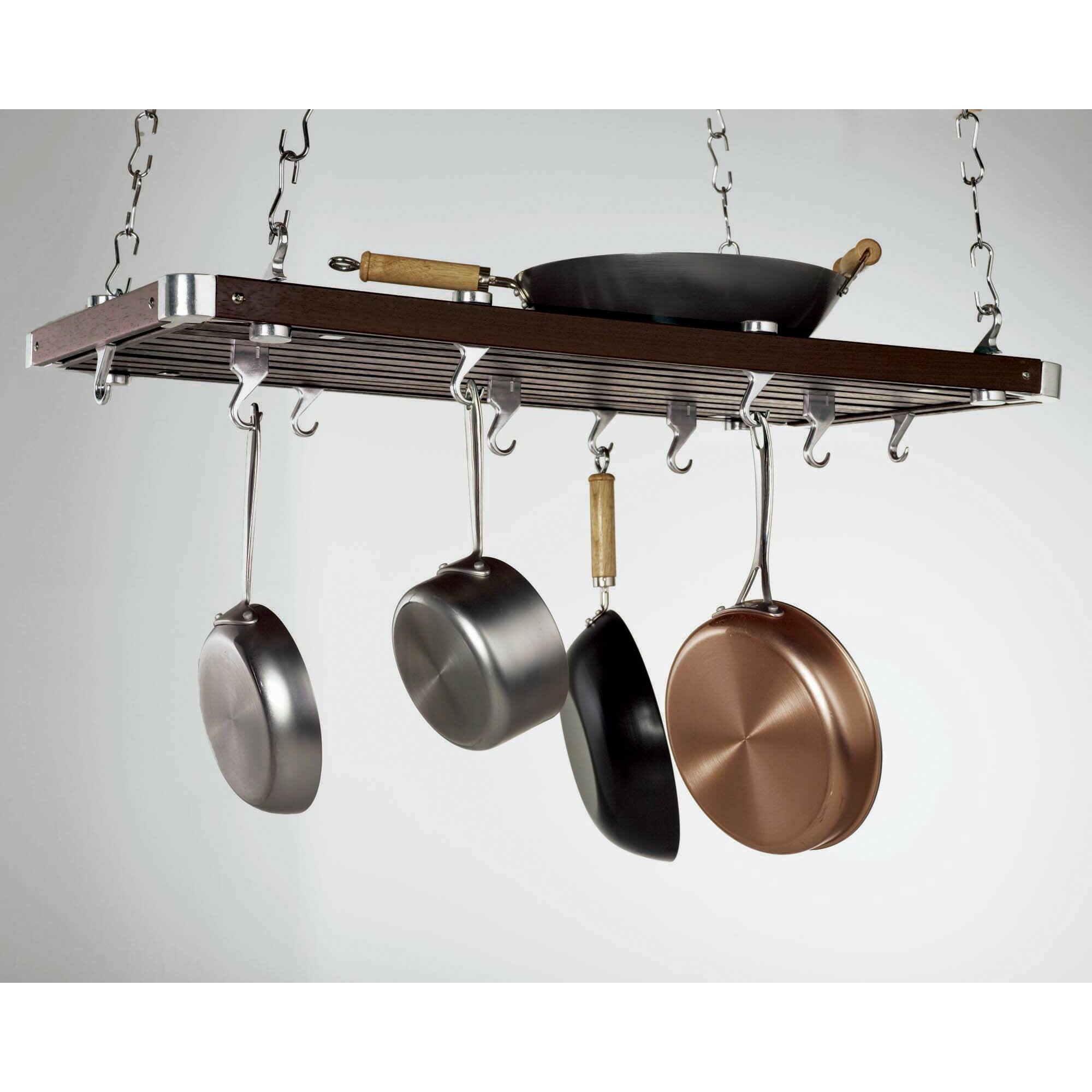 Concept housewares rectangular ceiling mounted pot rack for Pot racks for kitchen