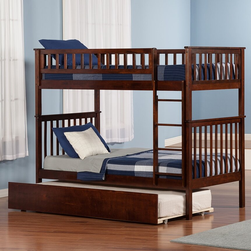 atlantic furniture woodland twin over twin bunk bed with trundle reviews wayfair. Black Bedroom Furniture Sets. Home Design Ideas