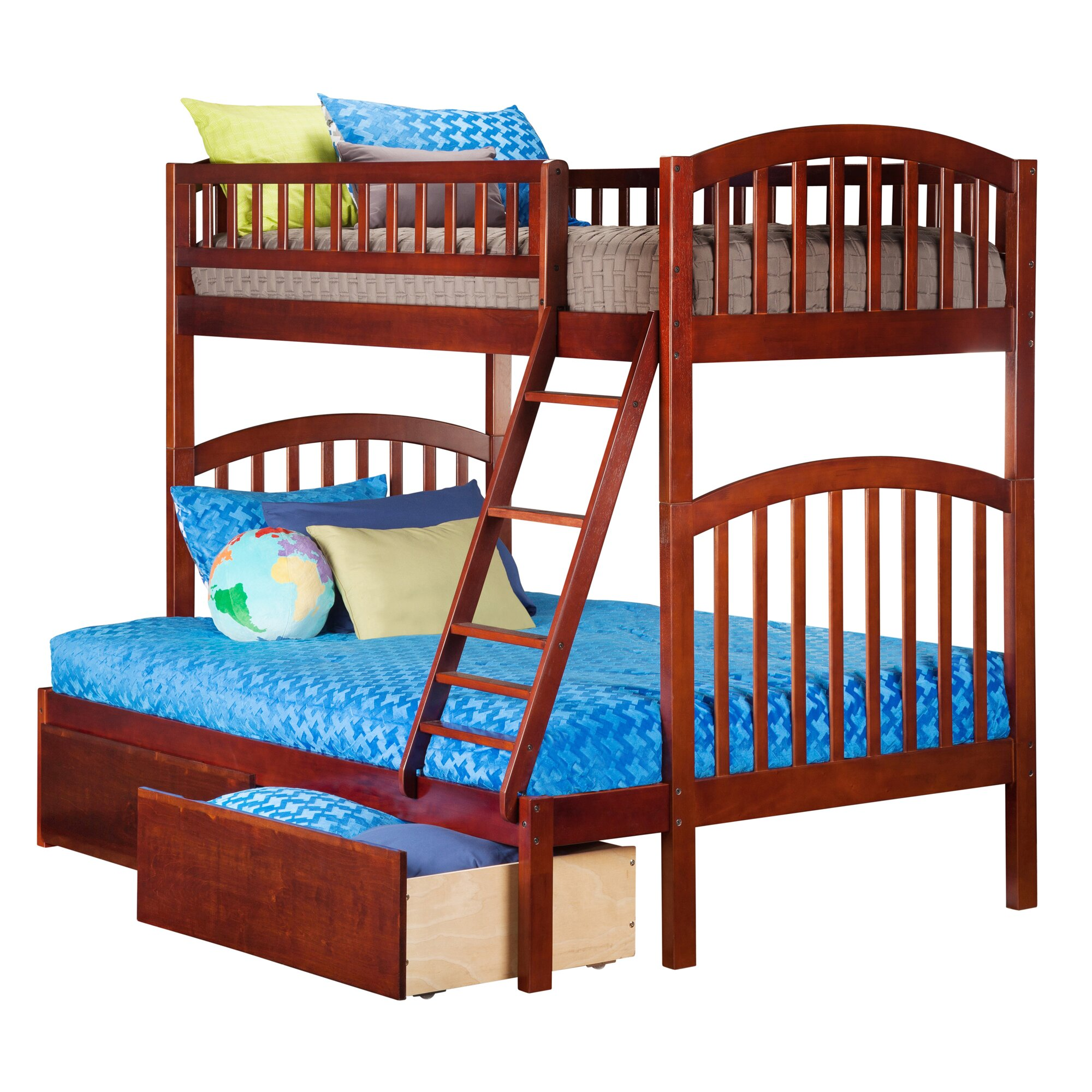 Atlantic furniture richland twin over full bunk bed for Full bedroom sets with mattress