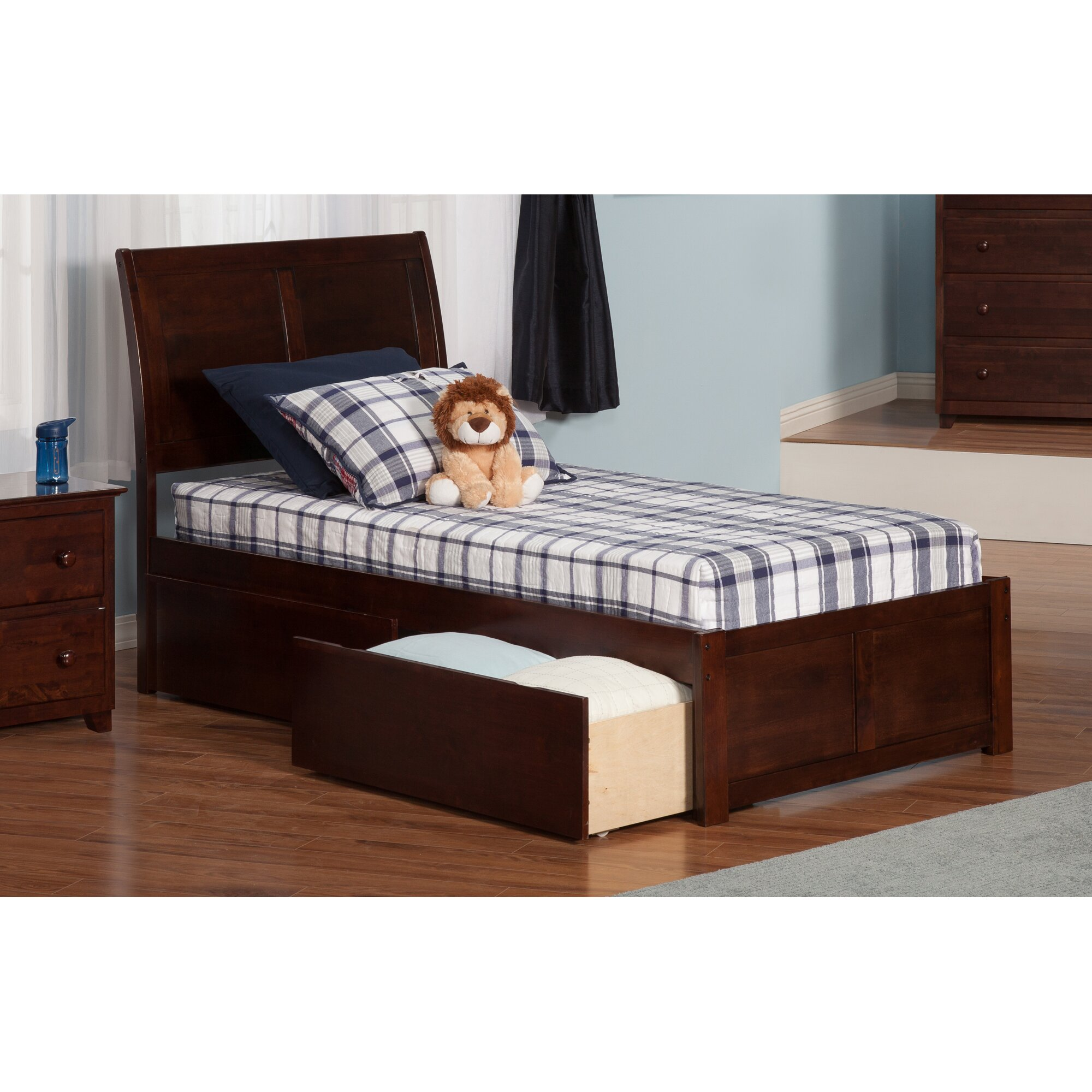 Atlantic Furniture Portland Extra Long Twin Sleigh Bed With Storage Reviews Wayfair