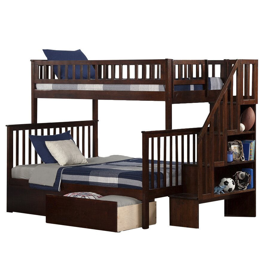 Atlantic furniture woodland twin over full bunk bed with for Furniture 123 bunk beds