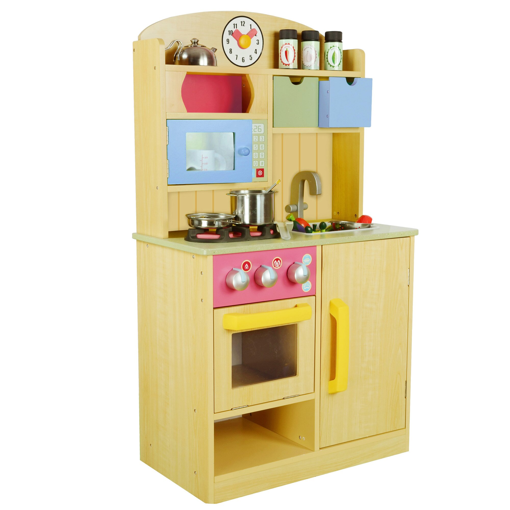 childrens wooden kitchen accessories teamson chef wooden play kitchen with 5392