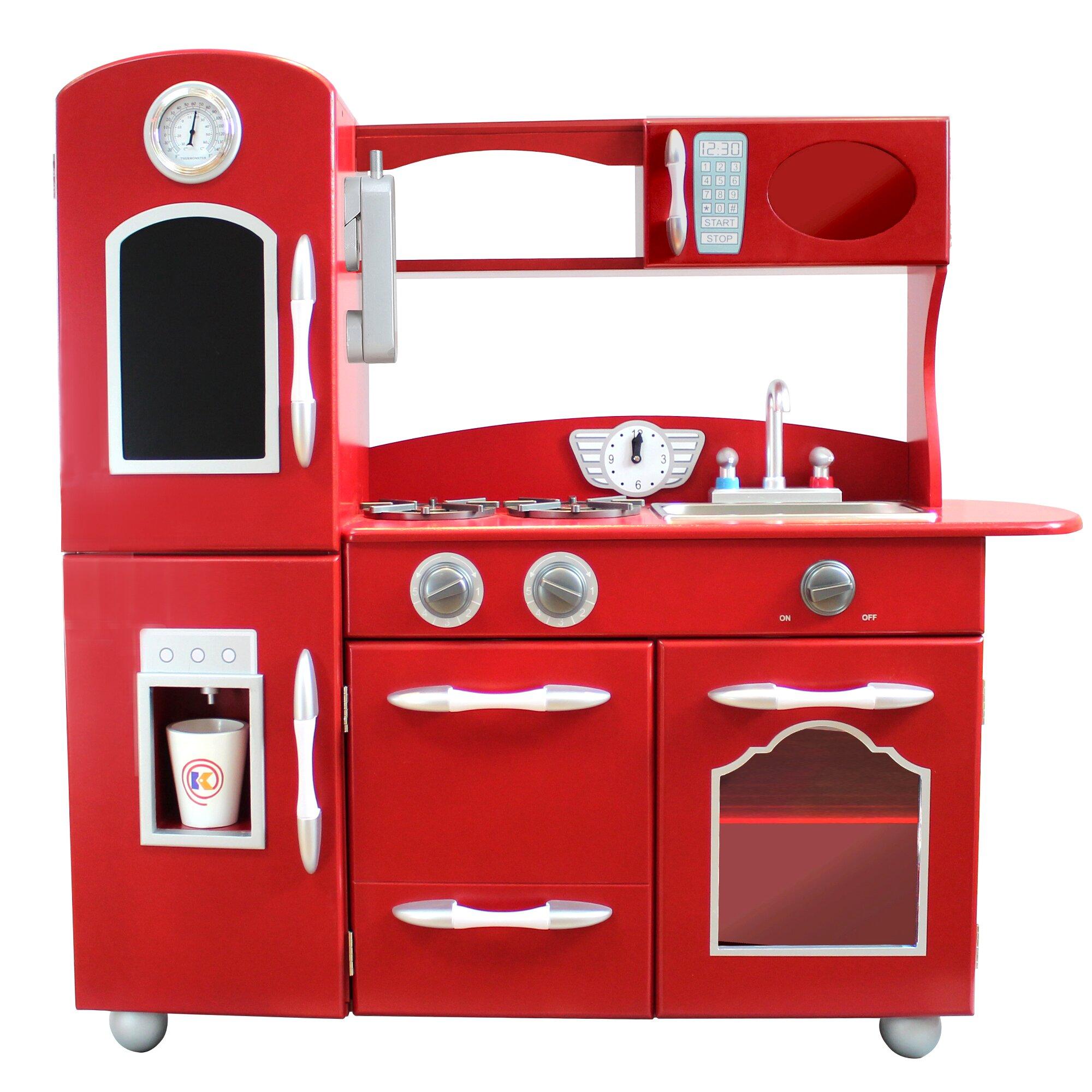 Teamson kids wooden play kitchen set reviews wayfair for Kitchen set lurus