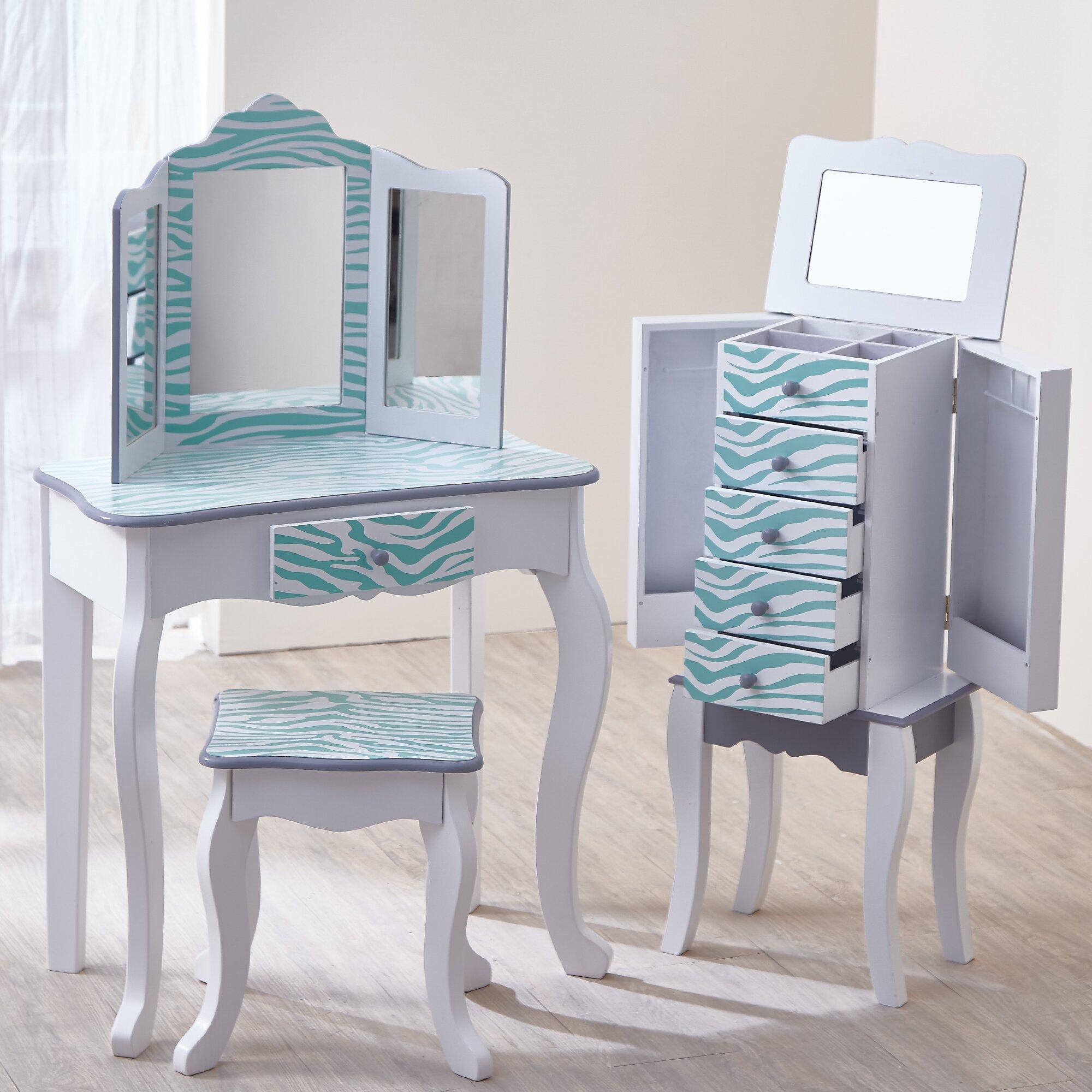 Teamson Kids Fashion Prints Vanity Set With Mirror