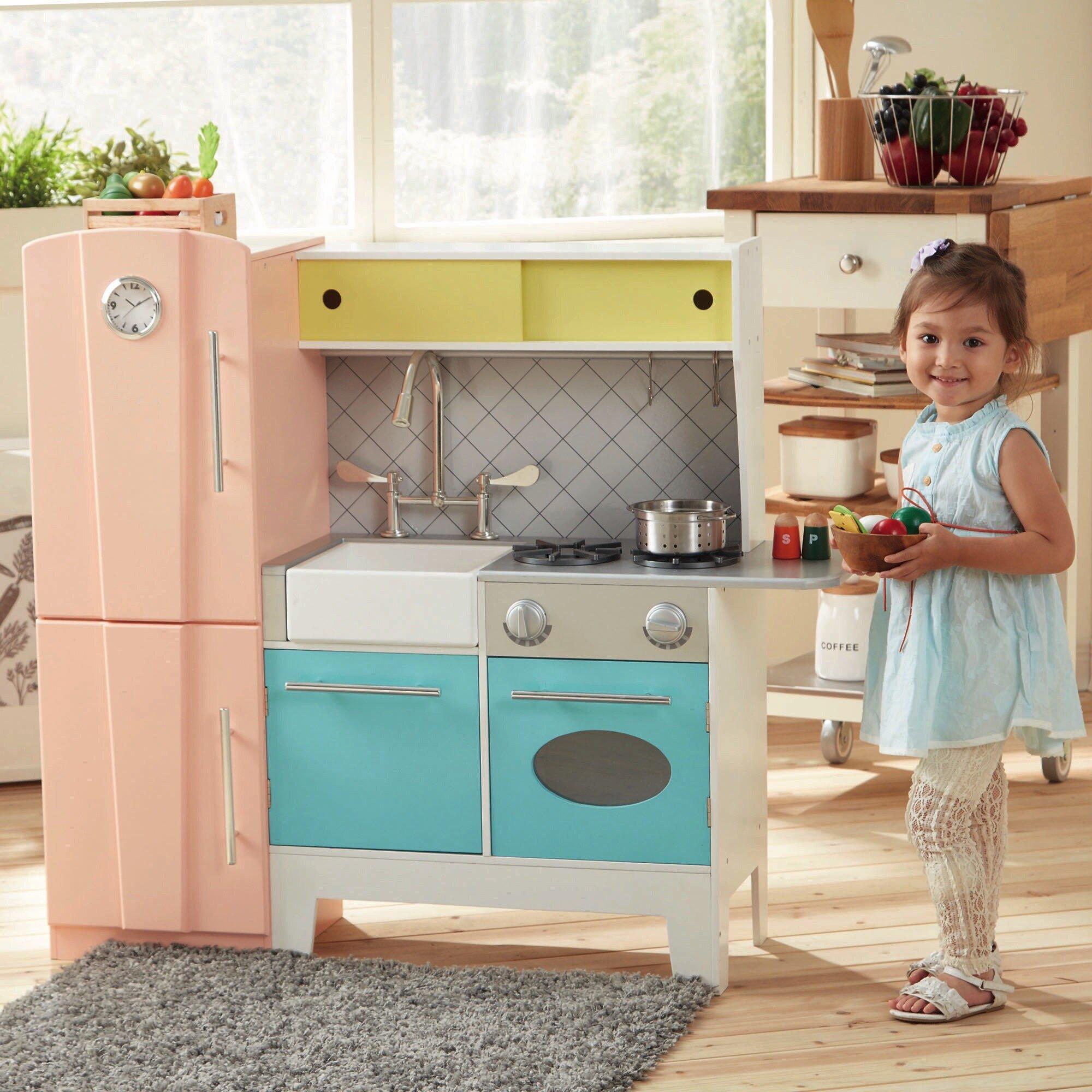 Teamson Kids Playful Bubble Gum Wooden Play Kitchen Reviews Wayfair