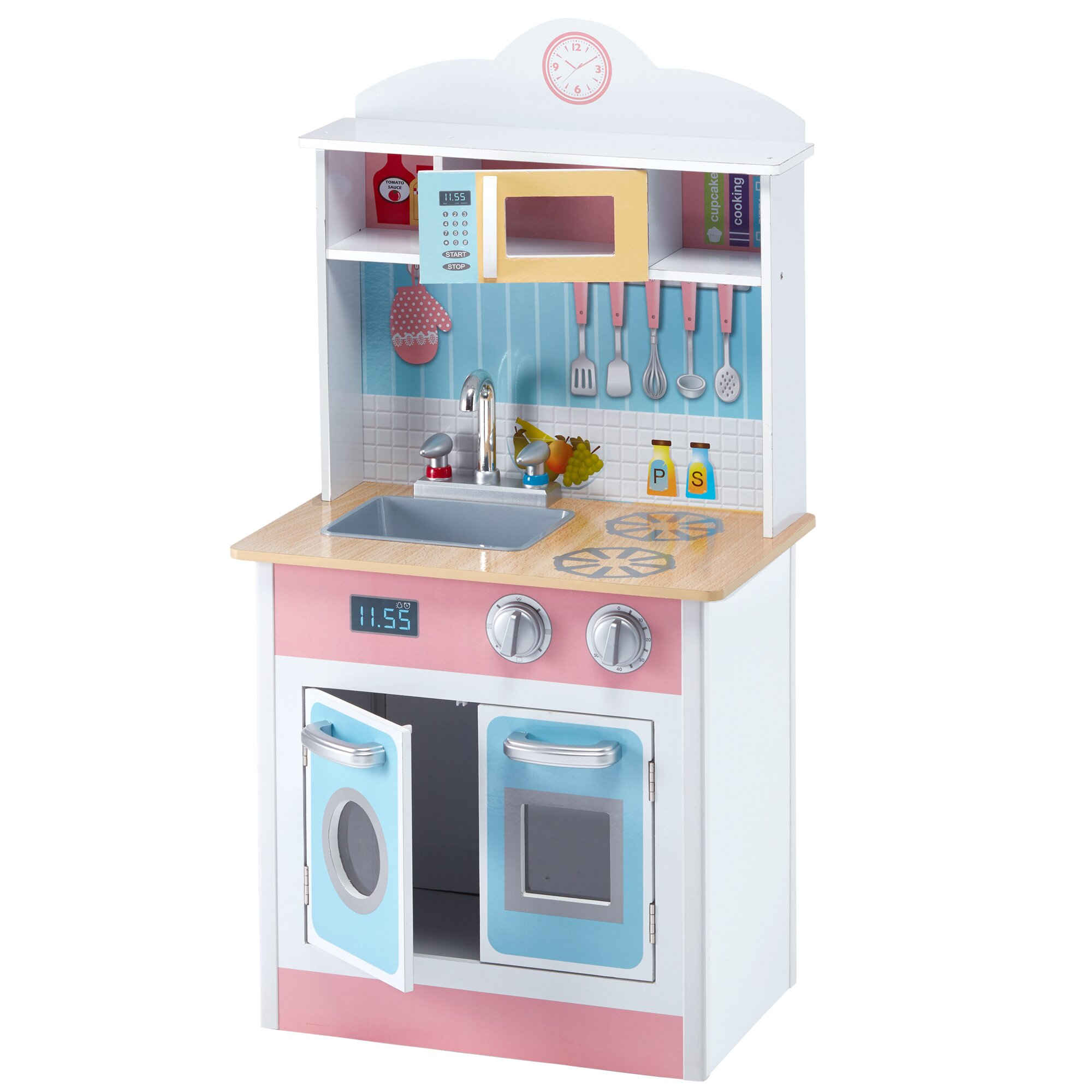 Teamson kids my little chef pastel small play kitchen for Small childrens kitchen
