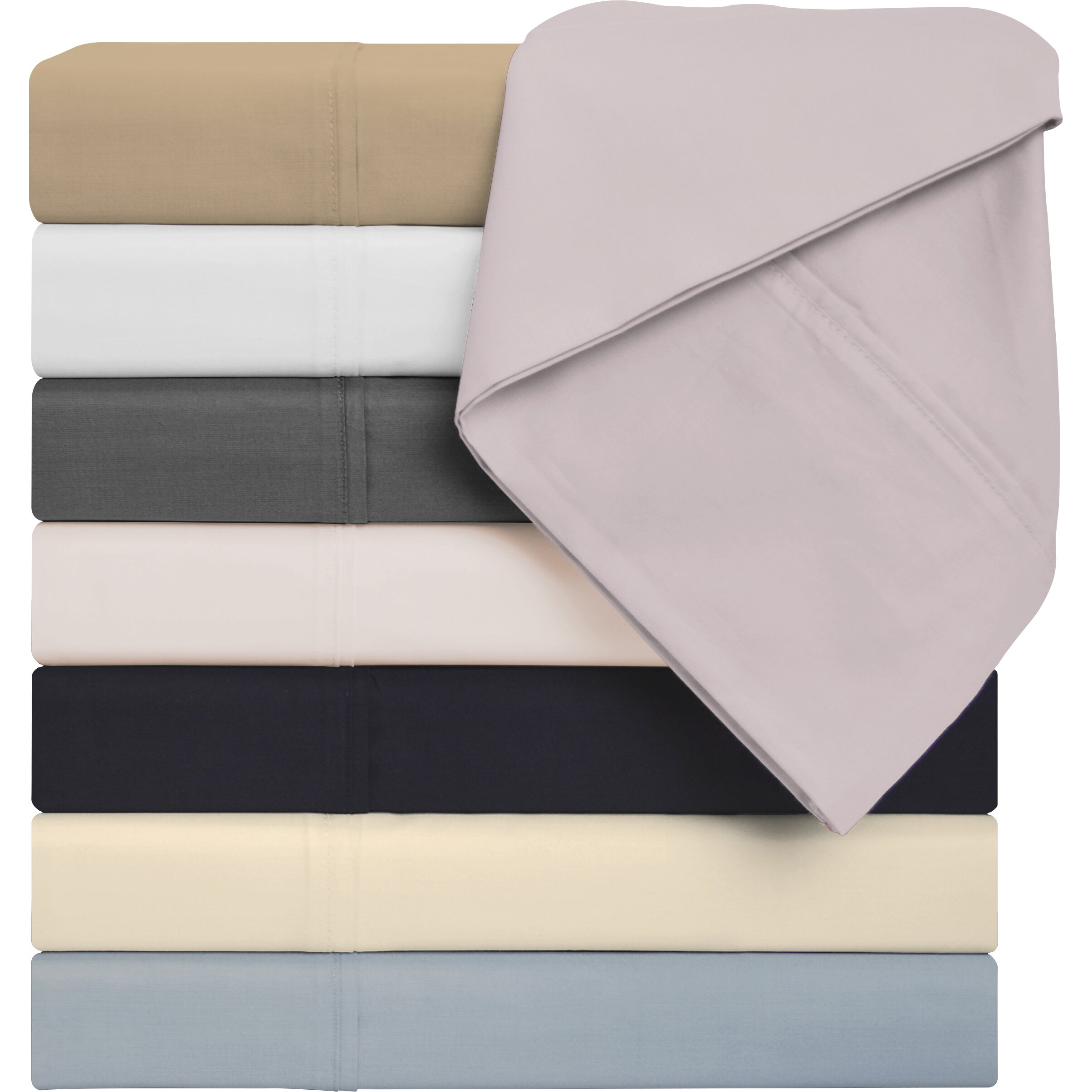 Simple luxury 425 thread count cotton solid sheet set for What is thread count in sheets