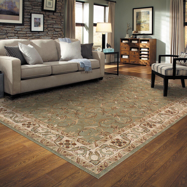 Simple luxury heritage green area rug reviews wayfair for Best type of rug for living room