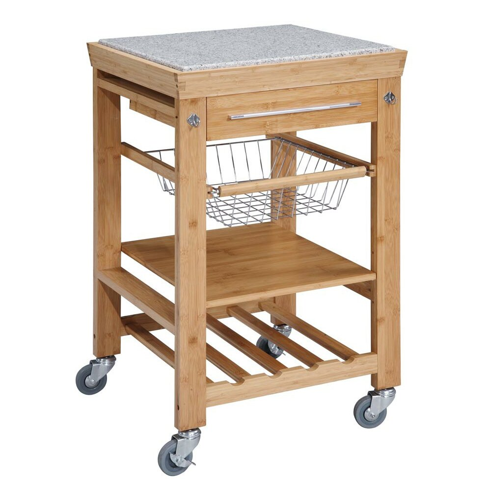 Linon Kitchen Cart With Granite Top Reviews Wayfair