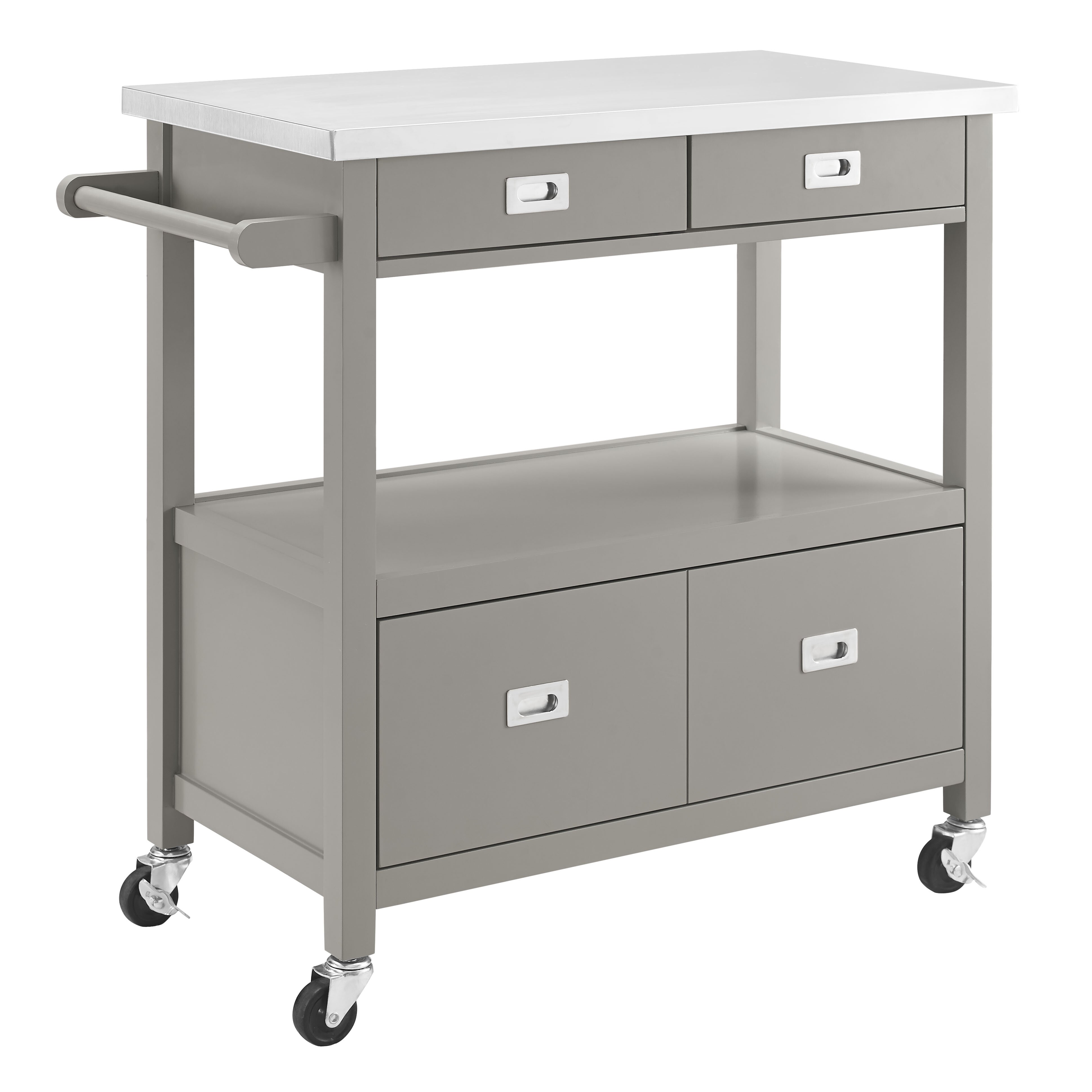 Kitchen Island With Stainless Steel Top: Mercury Row Aubuchon Kitchen Island With Stainless Steel