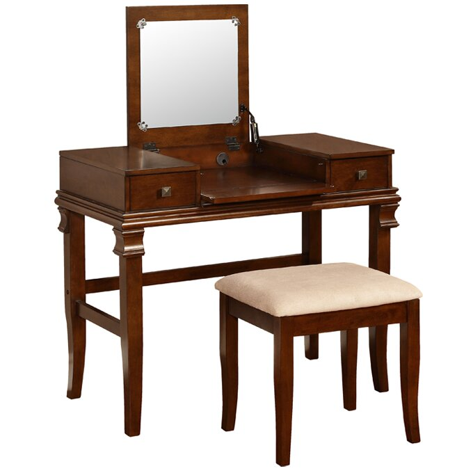 Angela White Vanity Set: Linon Angela Vanity Set With Mirror & Reviews