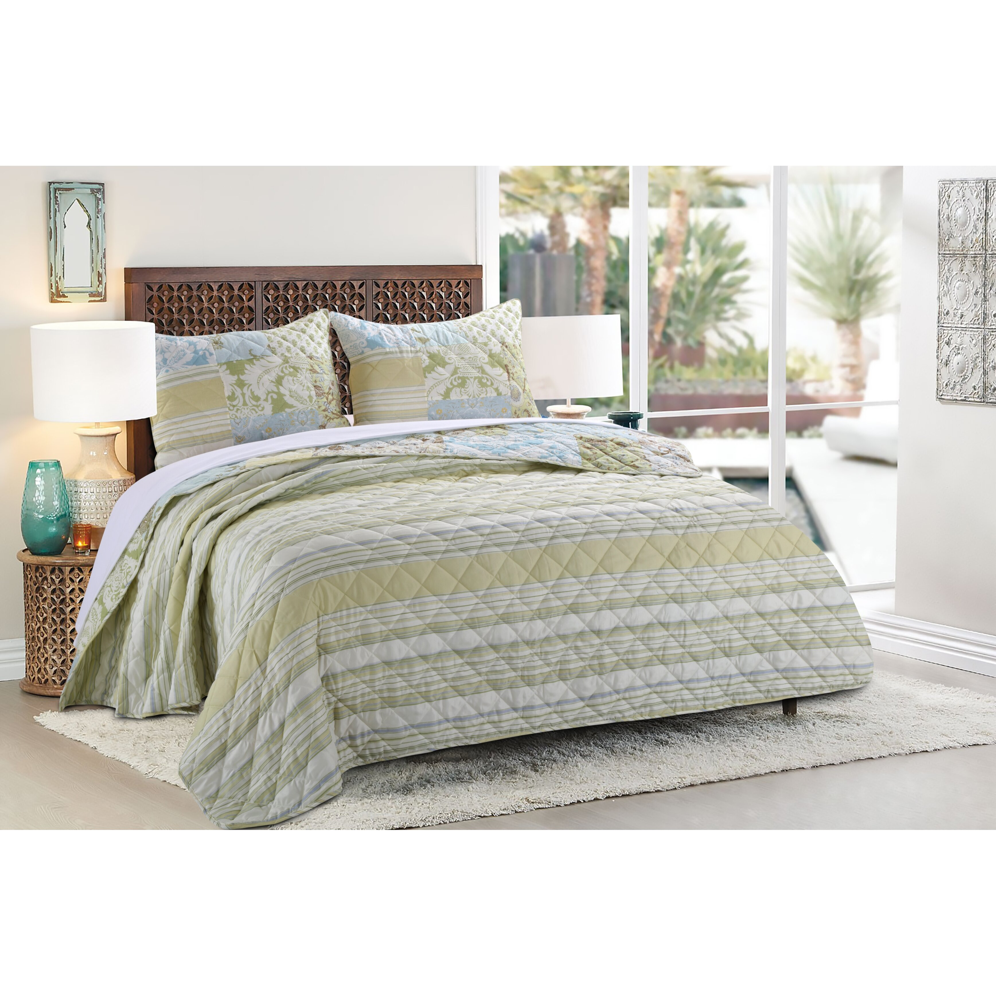 Greenland Home Fashions Mallory Reversible Quilt Set
