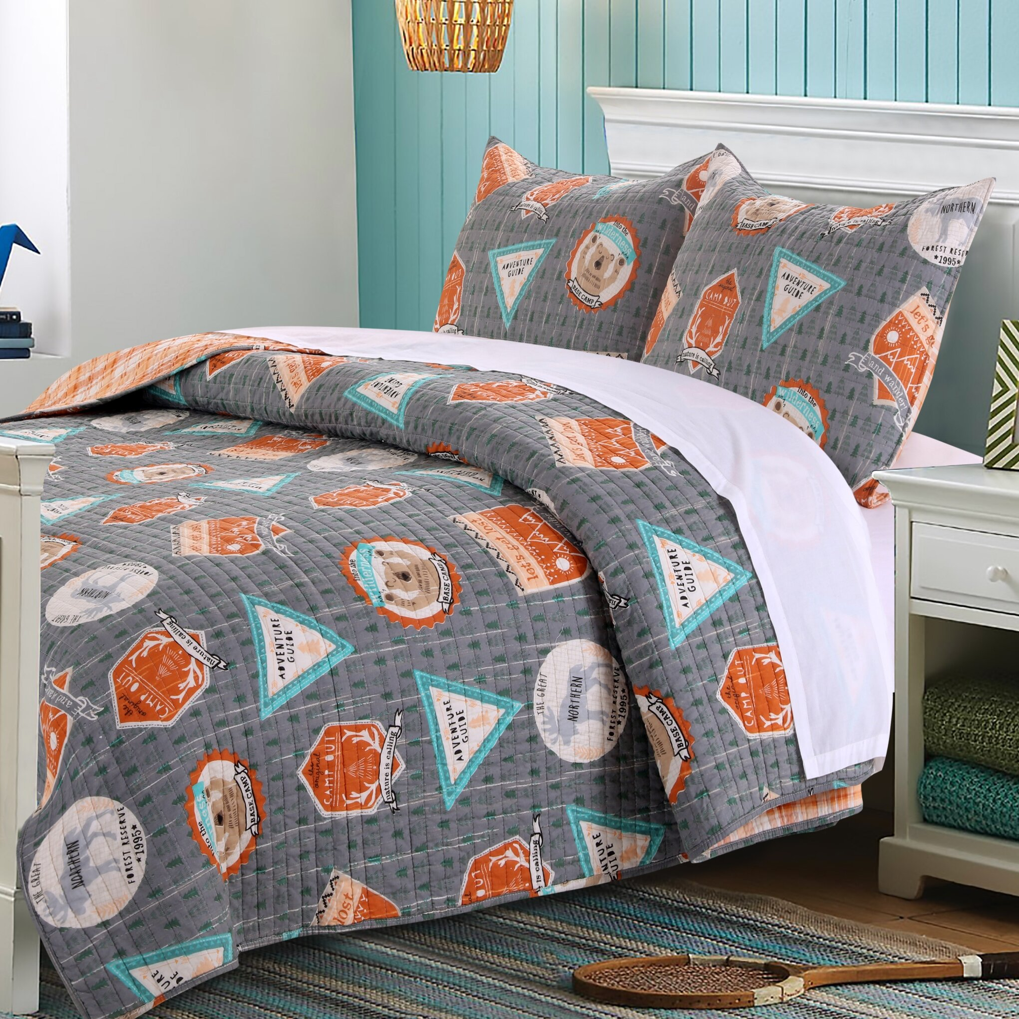 Greenland Home Fashions Camp Out Reversible Quilt Set