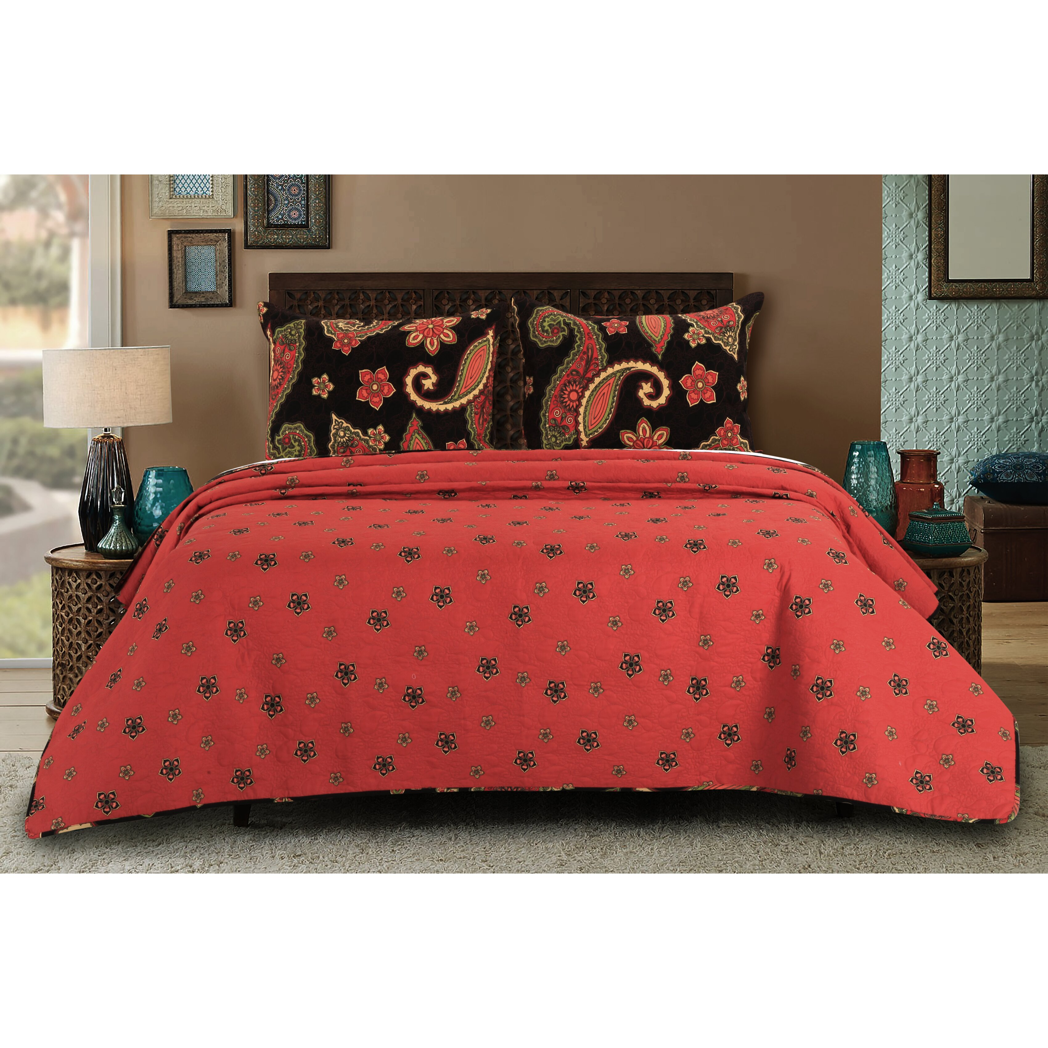 Greenland Home Fashions Midnight Paisley Reversible Quilt