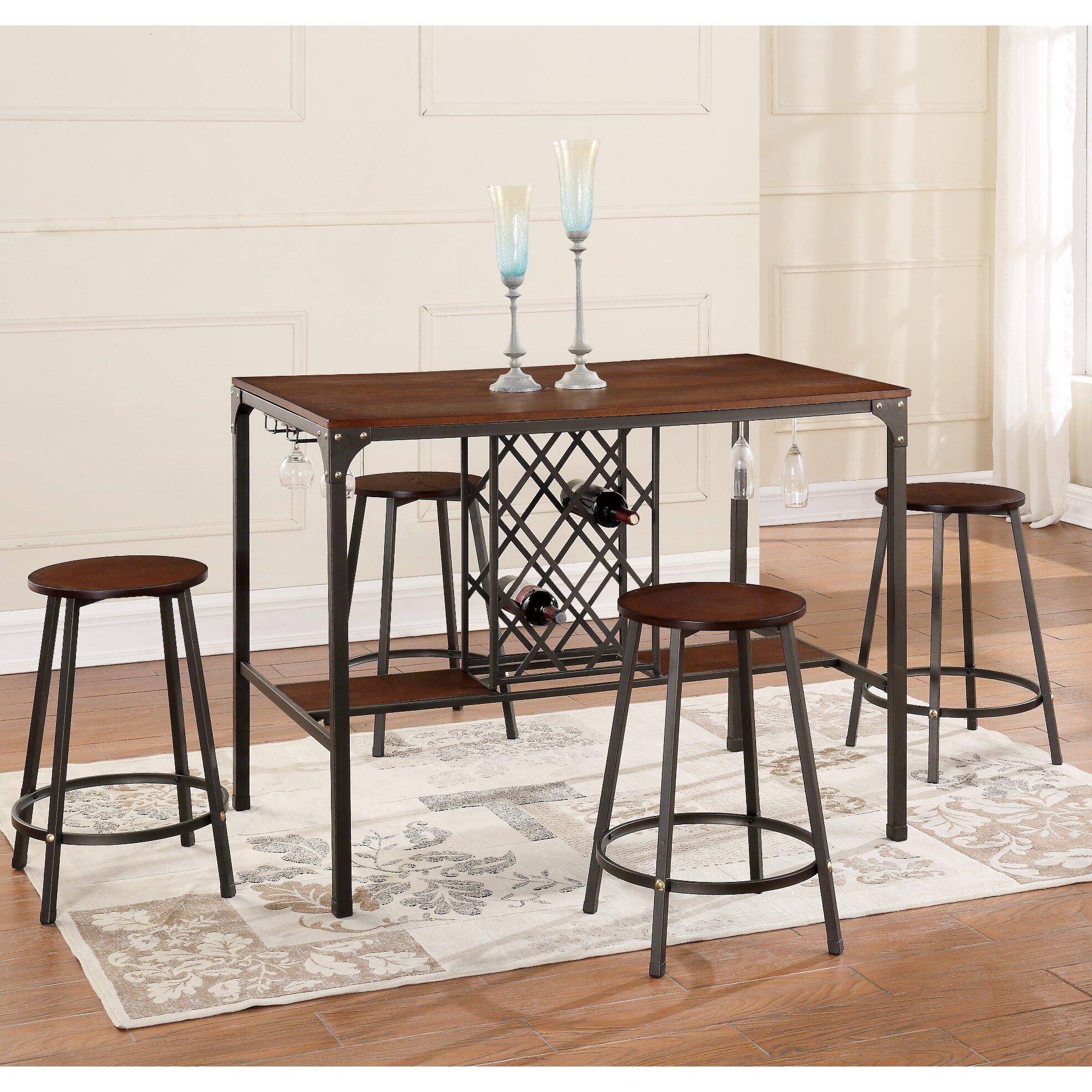 brayden studio littell 5 piece pub table set reviews wayfair. Black Bedroom Furniture Sets. Home Design Ideas