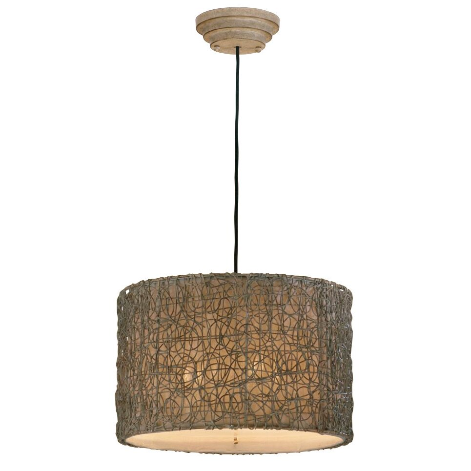 Foyer Drum Lighting : Uttermost woven rattan light drum foyer pendant