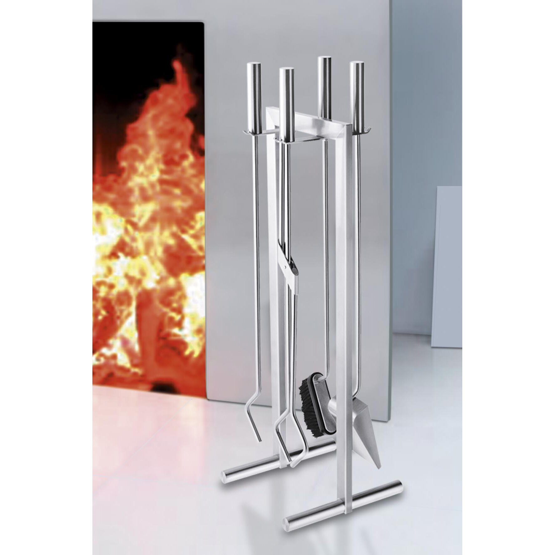 Zack calore piece stainless steel fireplace tool set