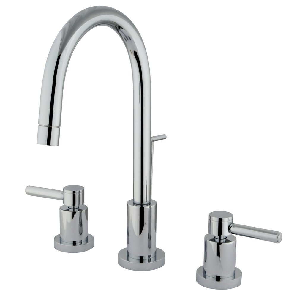 Elements of design concord double handle mini widespread bathroom faucet with brass pop up for Elements of design bathroom faucets