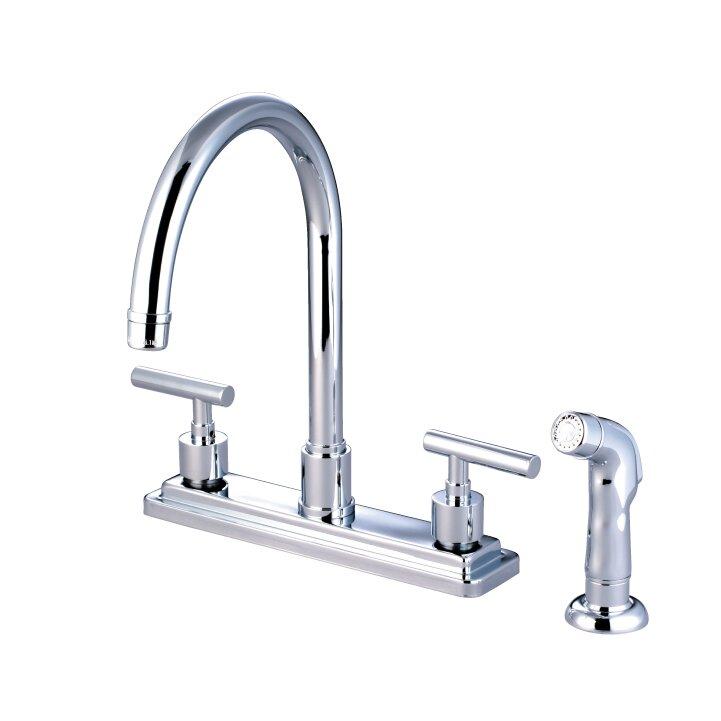 Elements Of Design Sydney Double Handle Centerset Kitchen Faucet With Non Metallic Sprayer