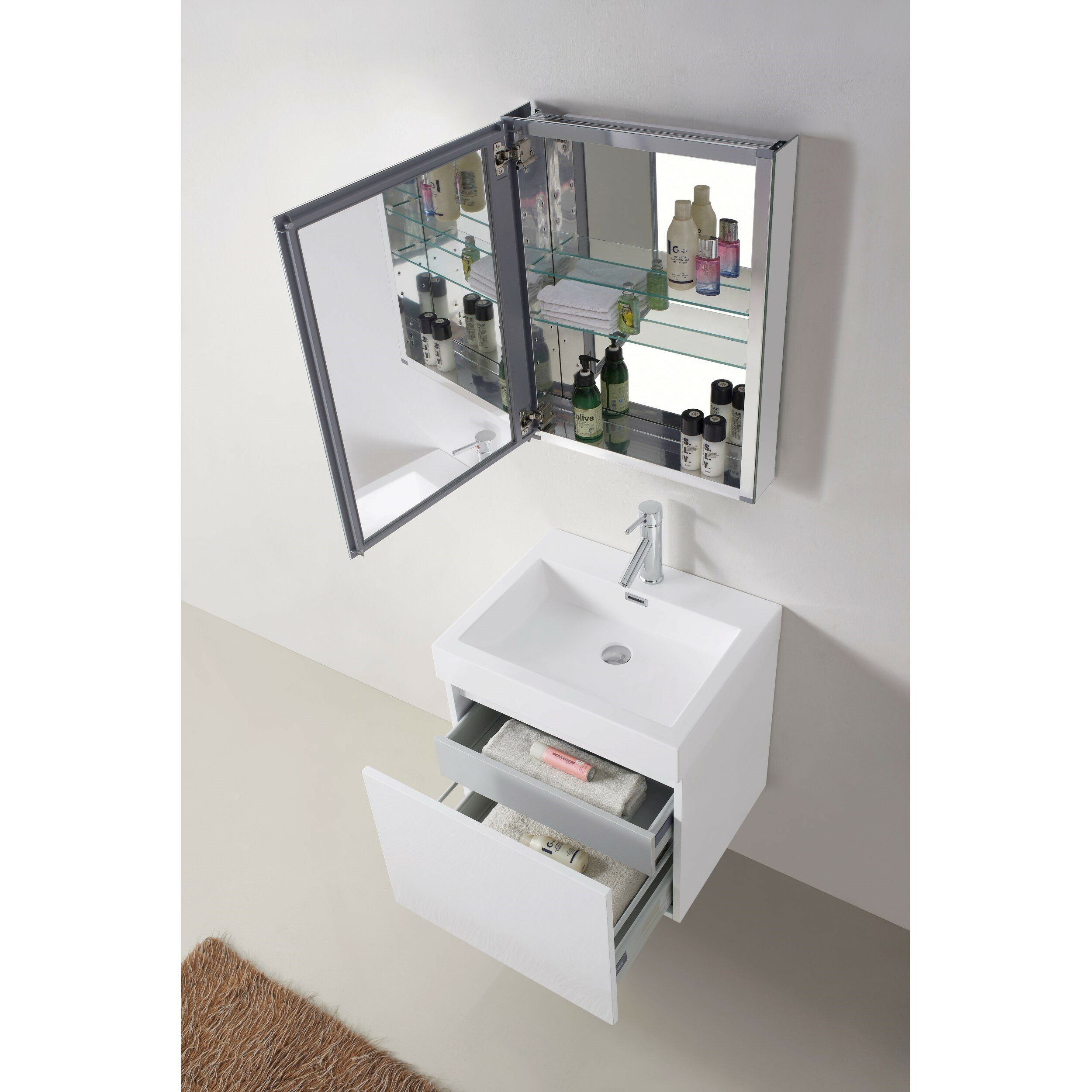 virtu zuri 24 quot single bathroom vanity set with white top